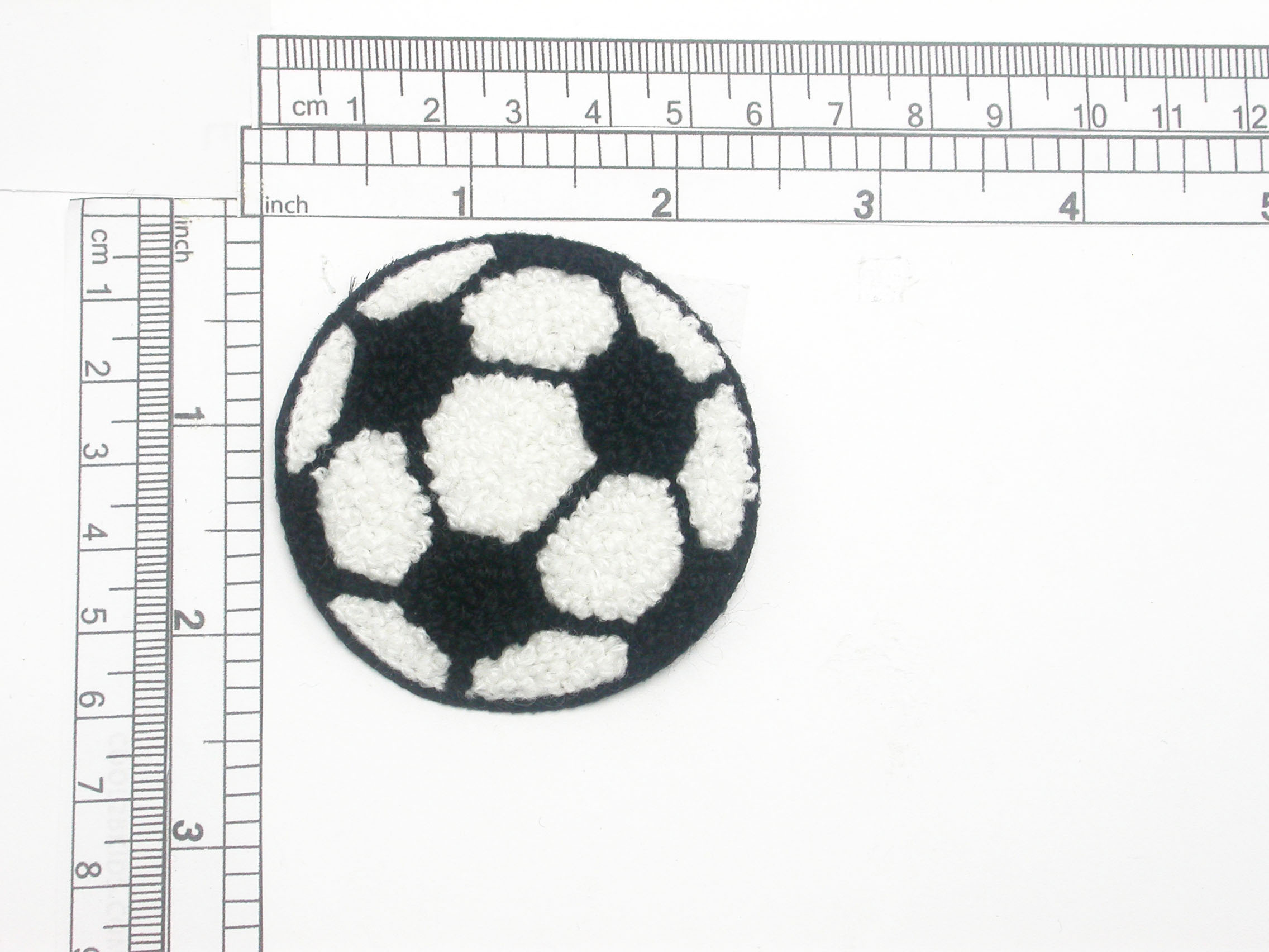 """Soccer Ball Patch Chenille Iron On Embroidered Applique   Measures 2 1/4"""" across x 2 1/4"""" High"""