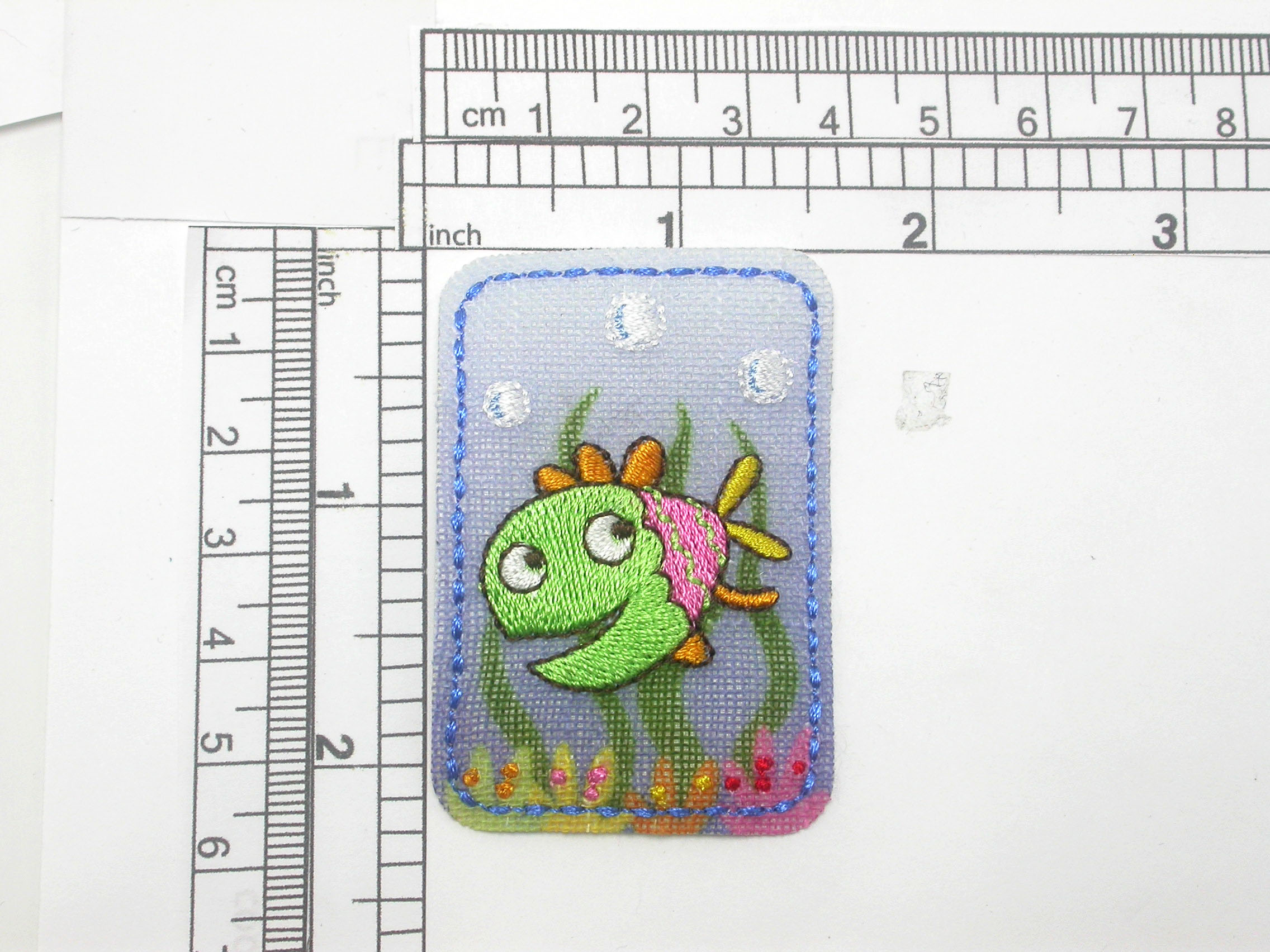 """Fish Colorful patch Iron On Embroidered  Applique   Embroidered on a printed lint backing  Measures 1 9/16"""""""" across x 2 1/4"""" high"""
