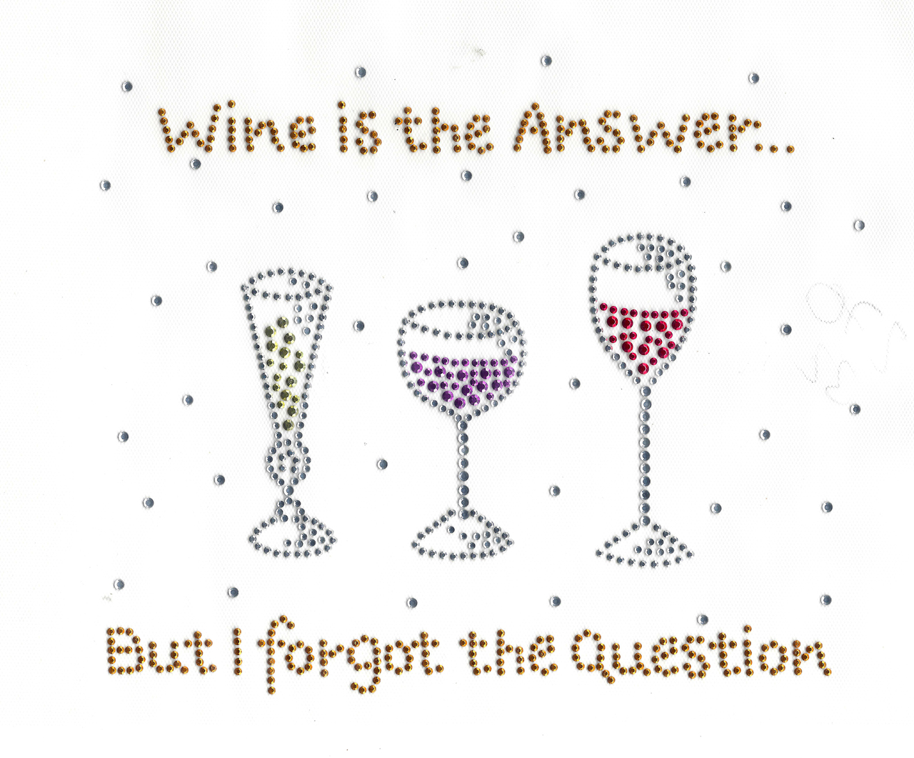 Rhinestud Applique - Wine Is The Answer But I Forgot the Question