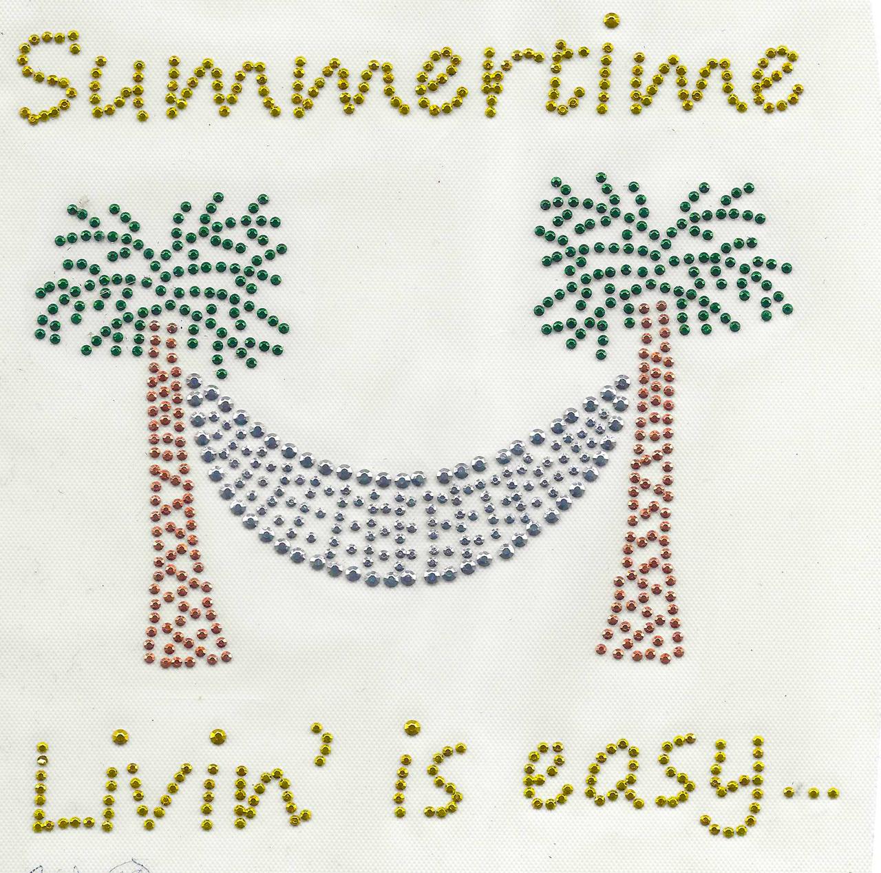 "Rhinestud Applique - ""Summertime Livin' is easy"""