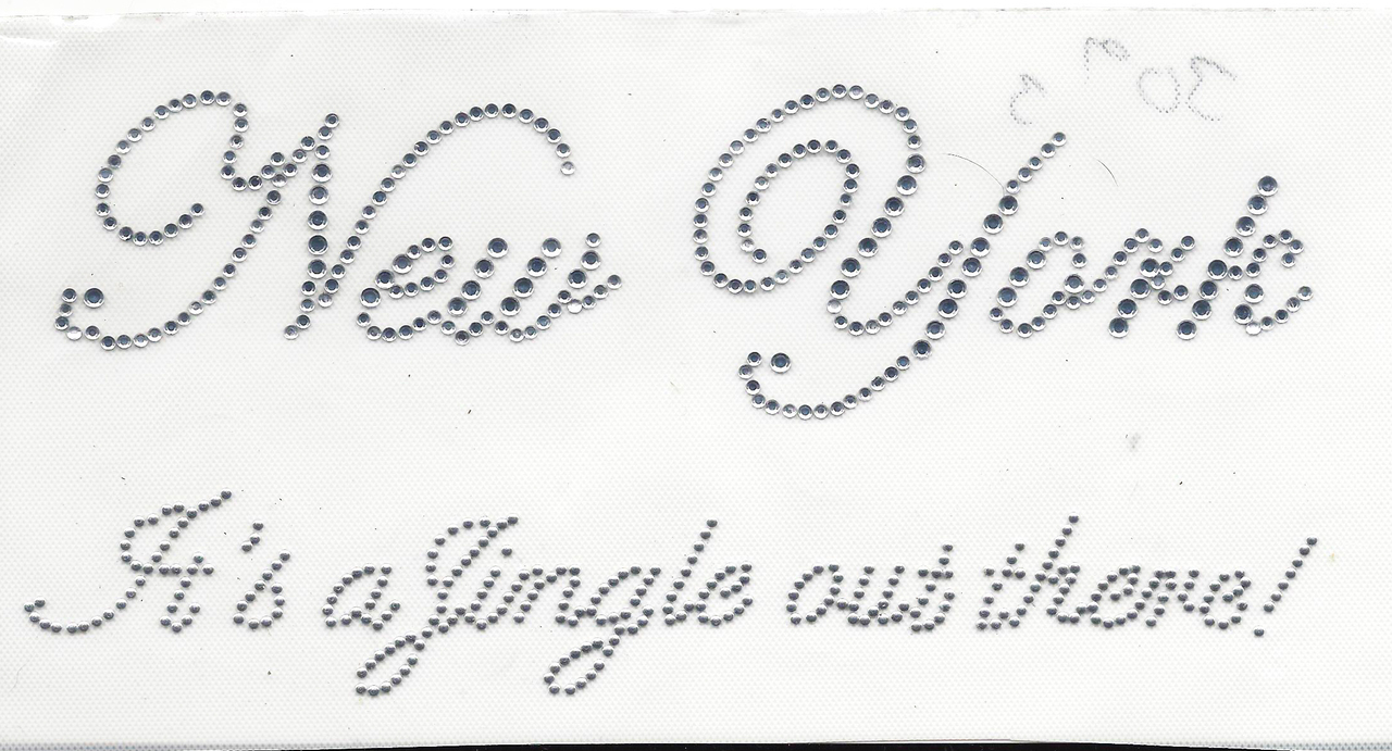 """Rhinestud Applique - New York """"Its a jingle out there"""""""