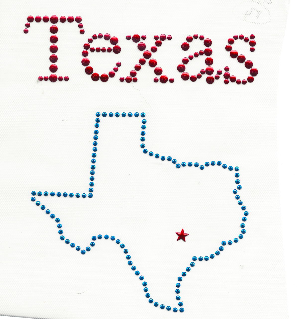 """Rhinestud Applique - Texas   Colors - RED BLUE   Measures 5 1/2"""" wide x 7"""" high  (139mm x 177mm)   Iron On or Heat Transfer   Item Pic is Scanned for accuracy, the studs and stones are much more vibrant to naked eye"""