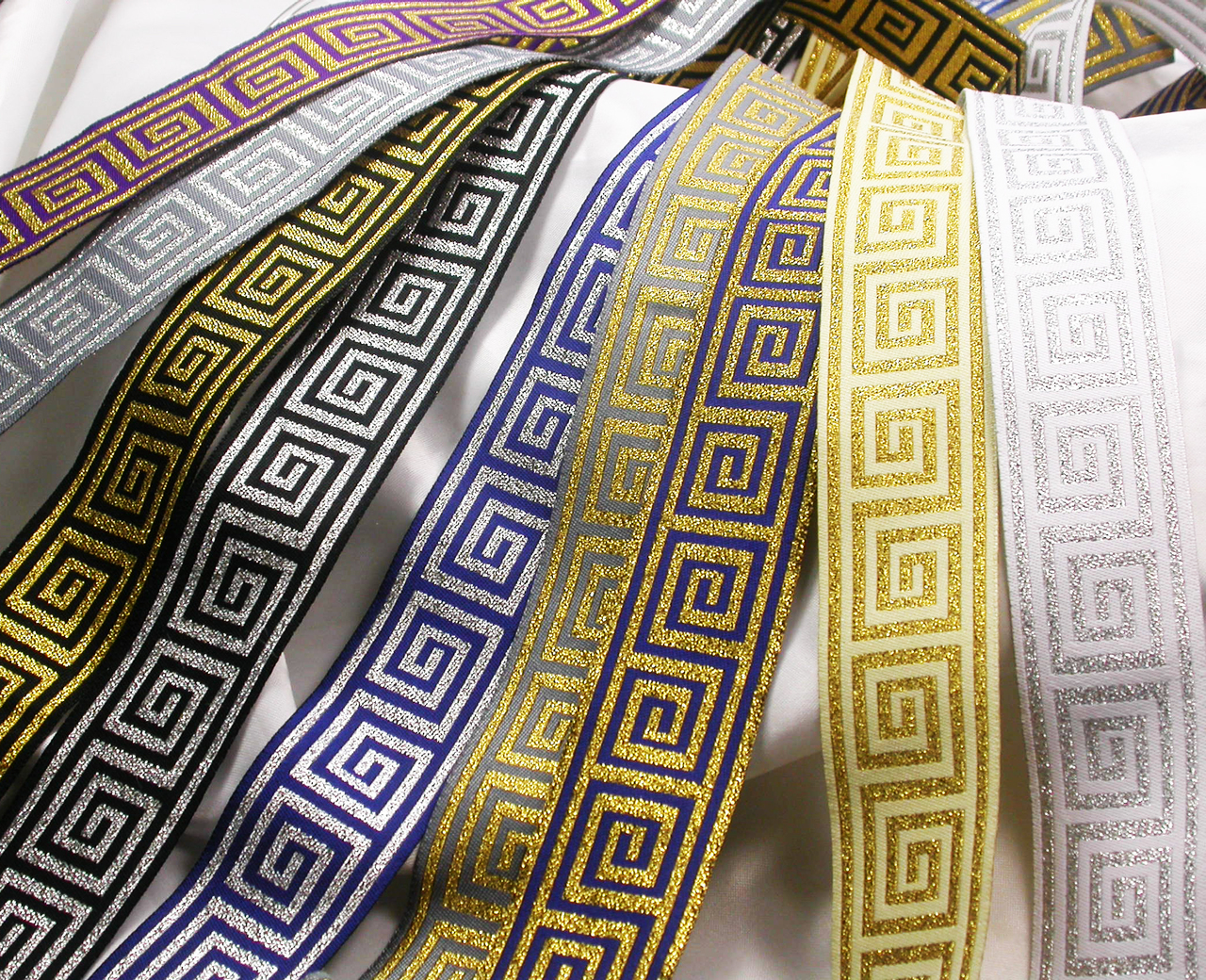 "Greek Key Jacquard Ribbon 1 5 /16"" (33mm) Metallic"