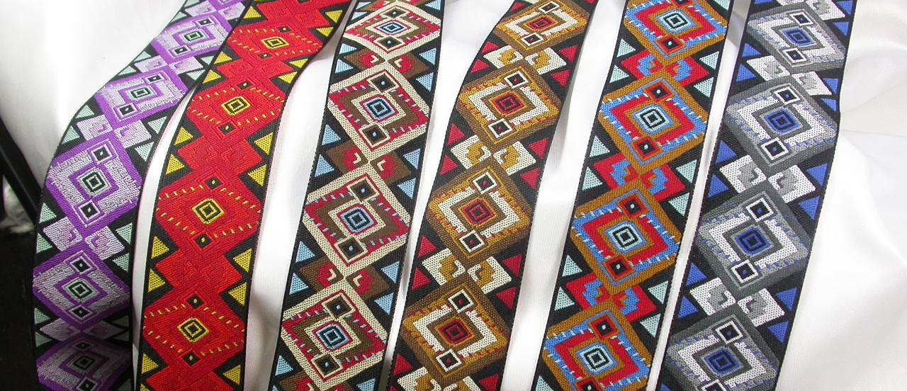 "Jacquard Ribbon 1 1/4"" (33mm) Southwest Haze *Colors* Prices Per Yard"