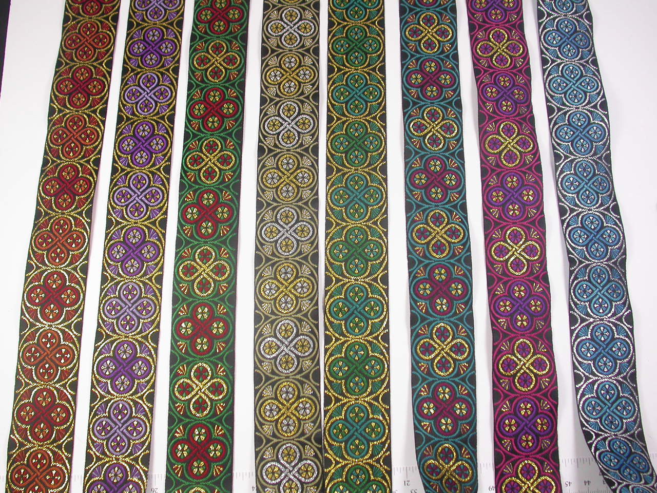 "Jacquard Ribbon 1 3/8"" (33mm) Radiant Rings *Colors* Priced Per Yard"