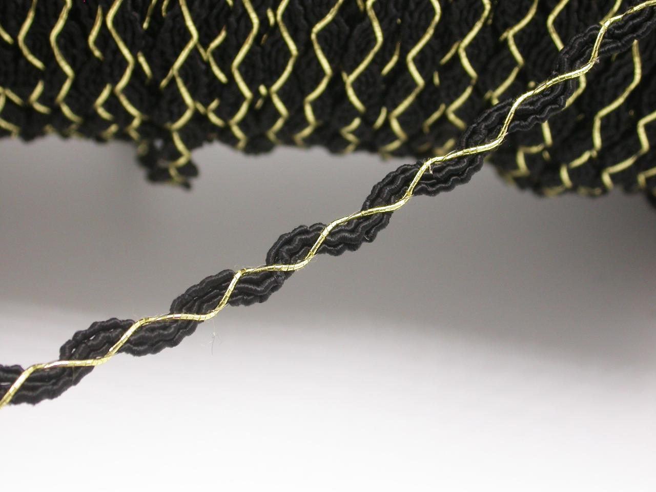 "Braid 3/8"" (10mm) Rick Rack Style Black & Metallic Gold Priced Per Yard"