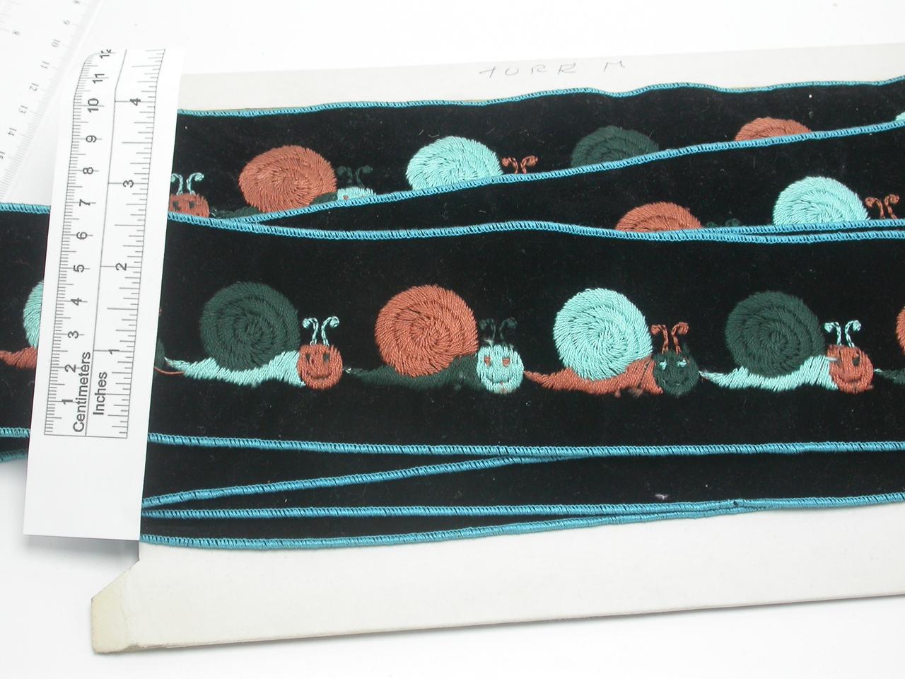 "Embroidered Velvet 2 1/4"" (57.15mm) Snail Vintage Priced Per Yard"
