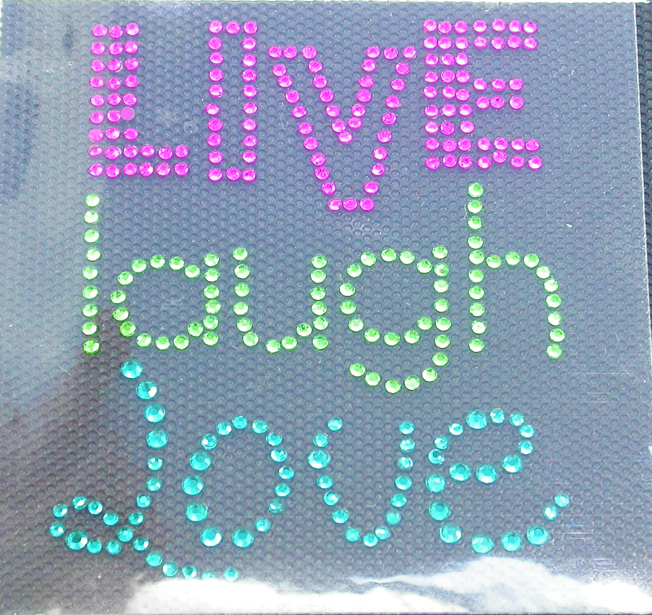 """Rhinestud Applique - Live Laugh Love    Color hot pink lime & blue   Measures 2 1/2"""" x 3""""  (64mm x 76mm)   Iron On or Heat Transfer"""