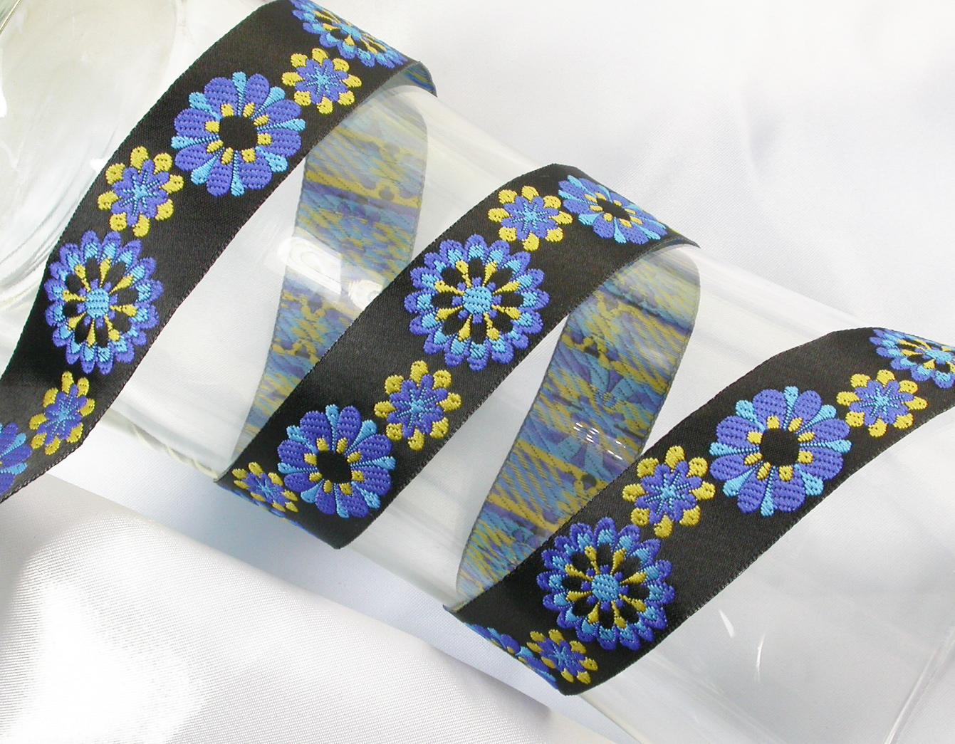 """Jacquard Ribbon 1 9/16"""" (39mm) Multi Flowers *colors*"""