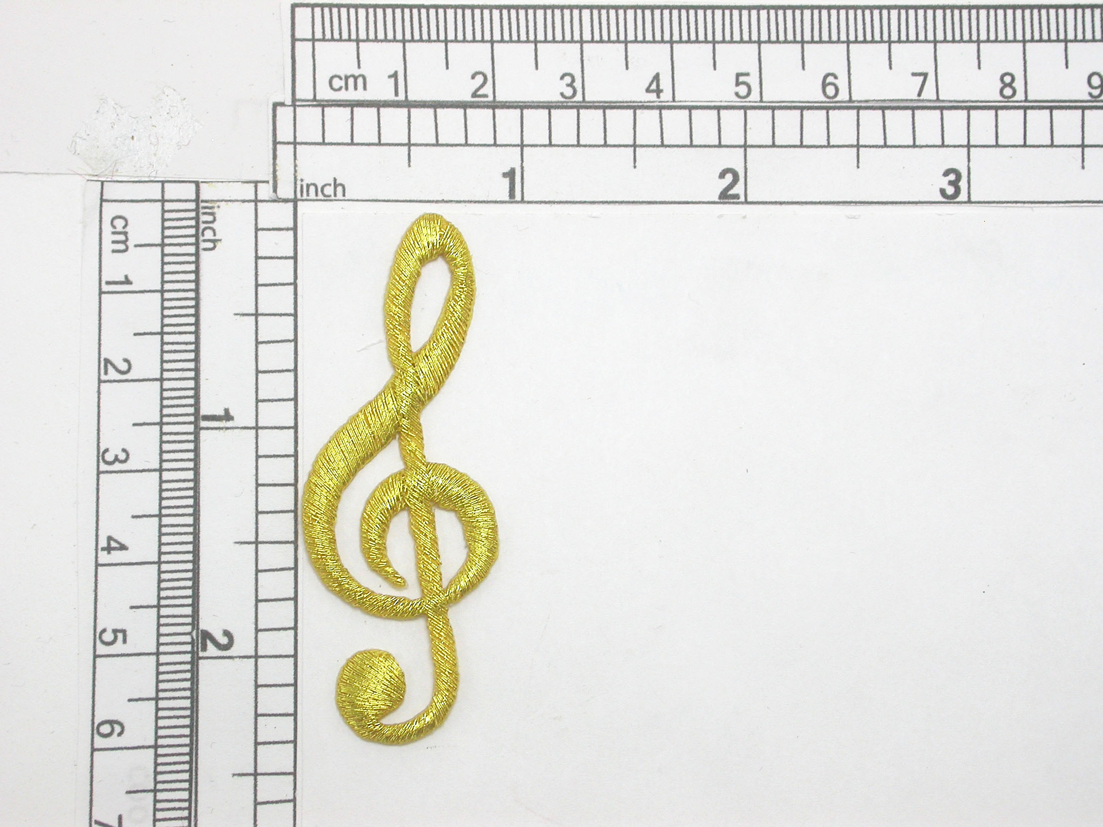 """Treble G Clef Musical Gold Iron On Patch Applique  Fully Embroidered  Measures 2 3/8"""" high 7/8"""""""
