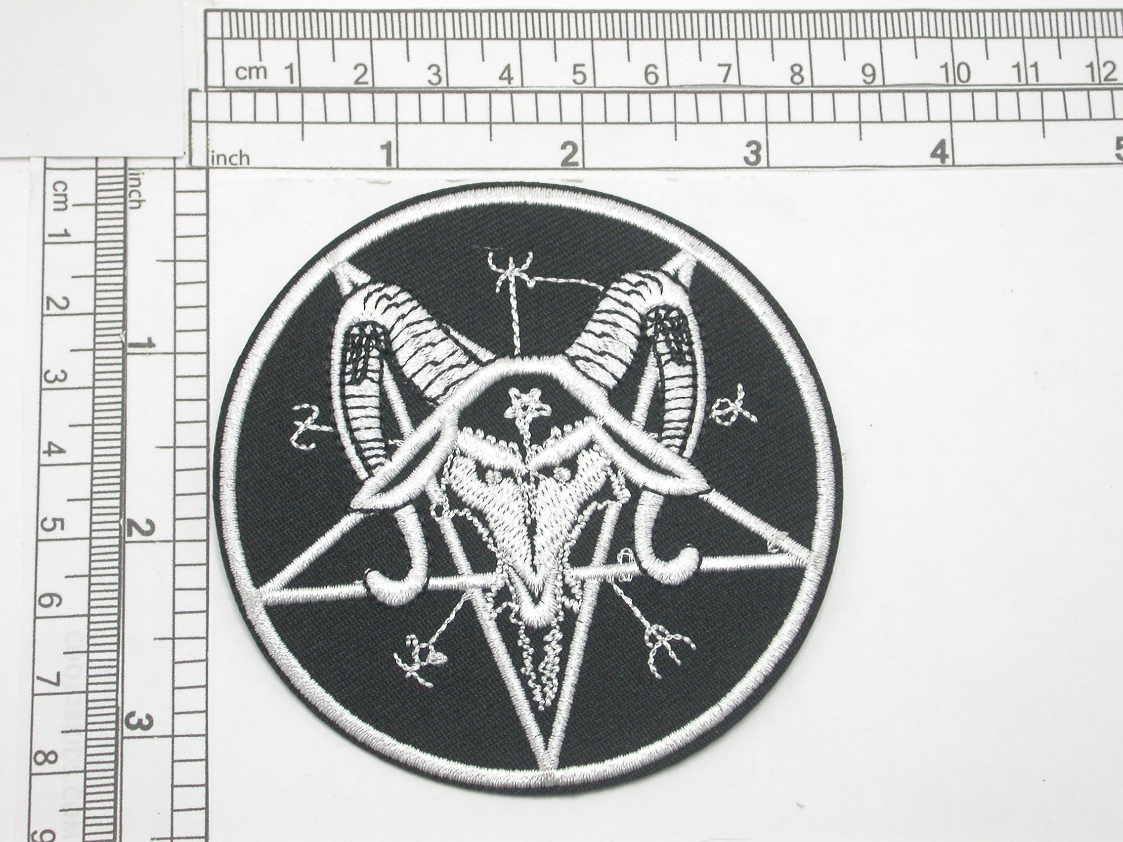 """Pentagram with Goat Occult Embroidered Patch 3 1/4"""" (83mm)"""