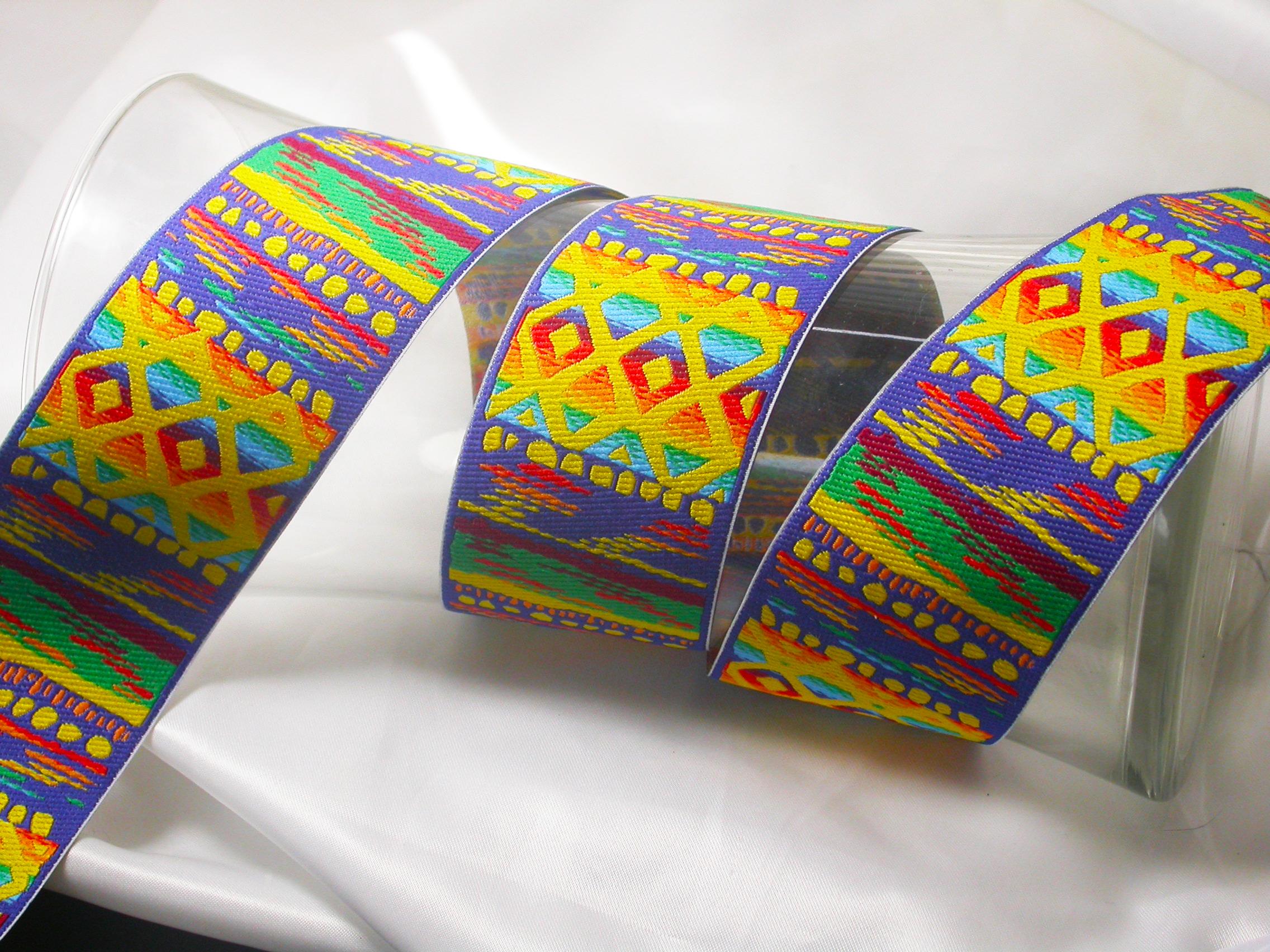 "Jacquard Ribbon 2"" Rainbow Beach Priced Per Yard  Brilliant Bright Colors in an abstract modern beach pattern"