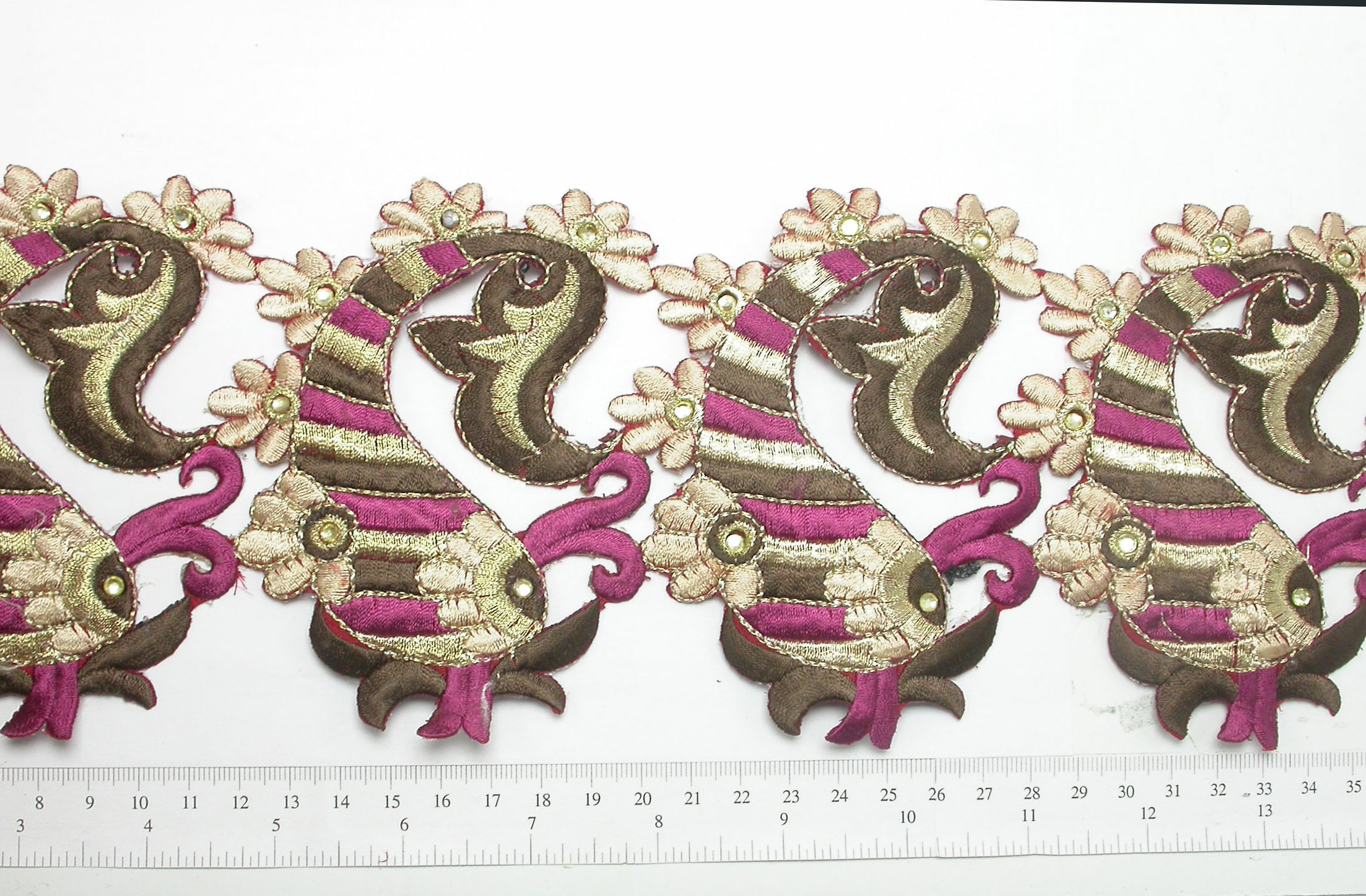 """Paisley Stripes Embroidered Iron On  Border 114mm 4 1/2"""" wide Priced Per Yard Iron On"""