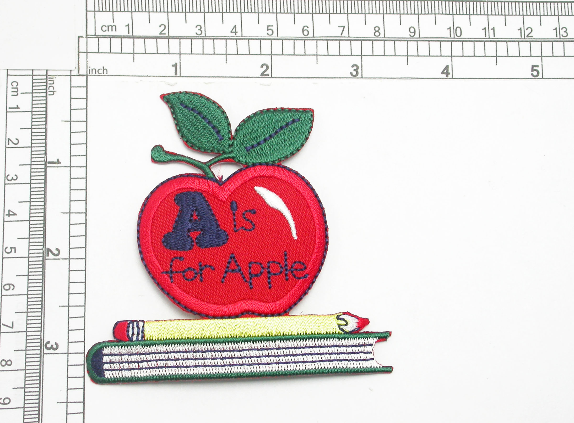 """A Is for Apple Classroom Teaching Iron On Applique  Embroidered on Twill Backing with Rayon Threads  Measures 3 1/4"""" high x 3 1/8"""" wide approximately"""