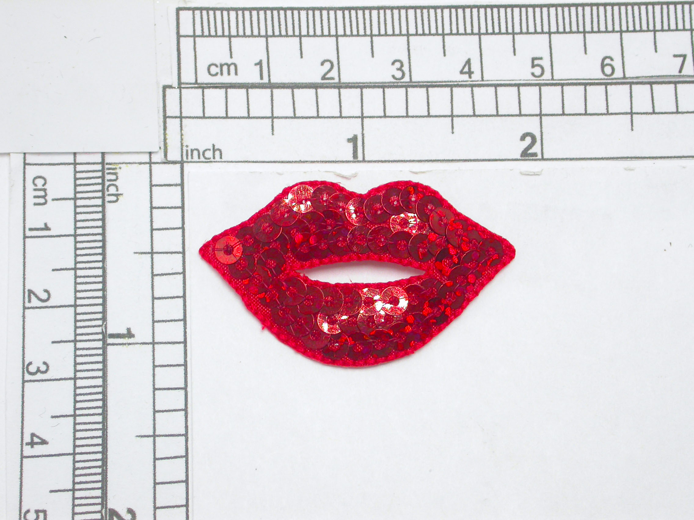 """Hot Lips Red Sequin Kiss  Patch Iron On  Applique   Embroidered & Sequins  Measures 1-3/4"""" x 1-1/8""""    (44mm x 28.6mm)"""
