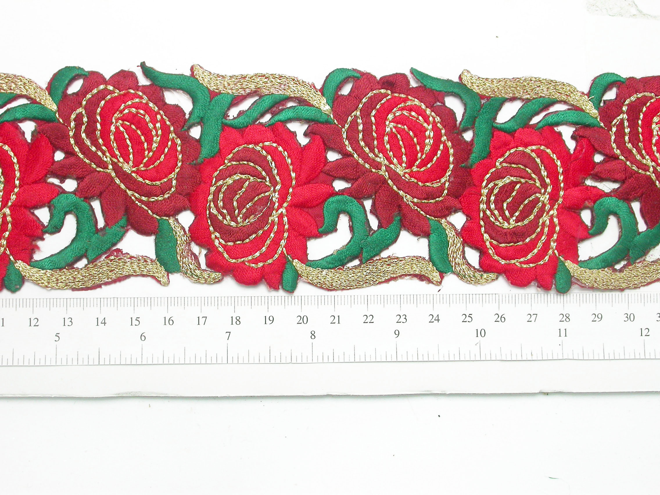 "Embroidered Rose Border  67mm 2 5/8"""