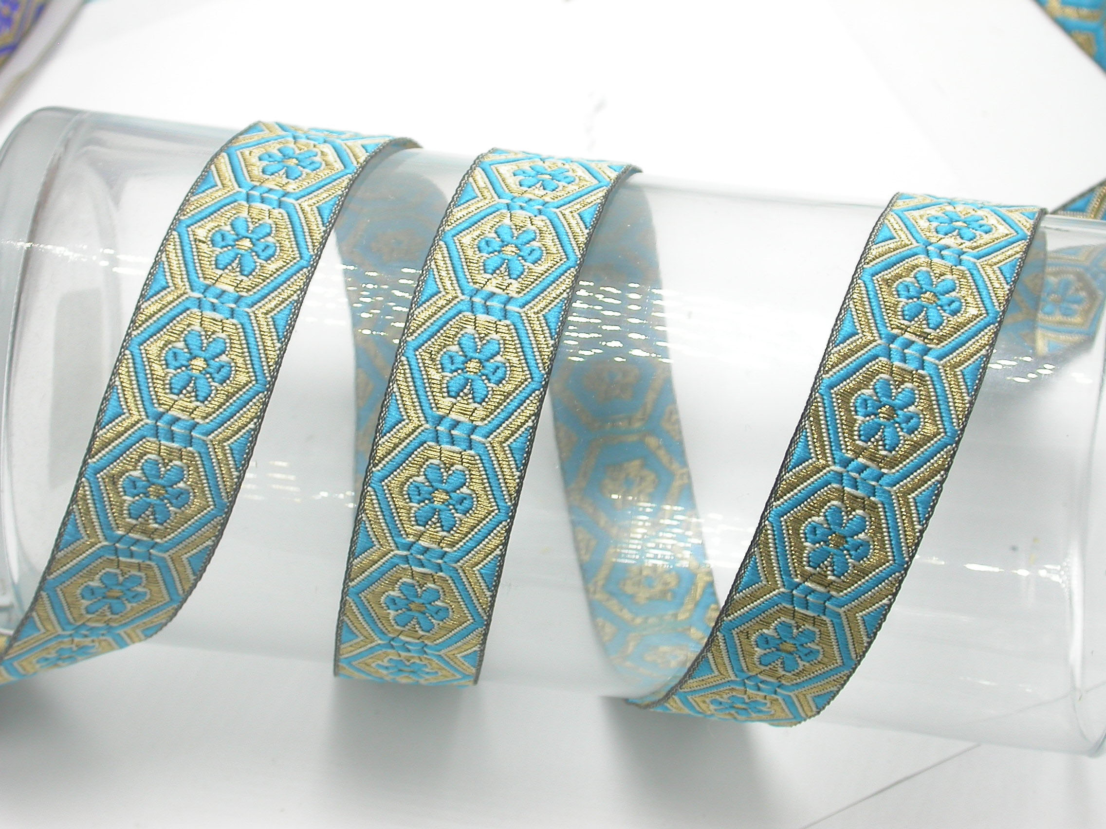 """Jacquard Ribbon 1"""" Flower Facets  Priced Per 3 yards & Up  Woven Jacquard Ribbon with Metallic  8 colorways"""