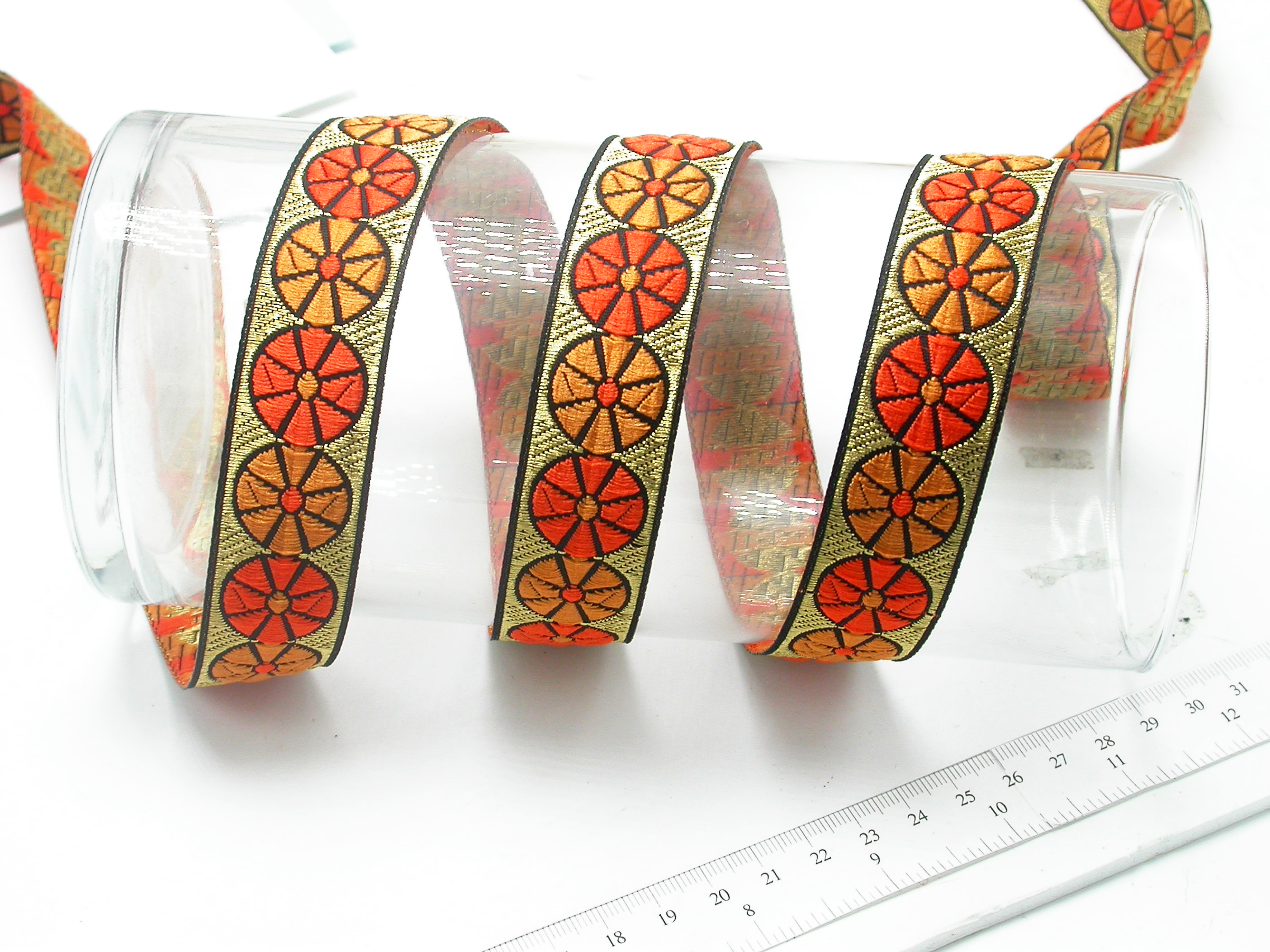 """Jacquard Ribbon 1"""" Color Wheels  Priced Per 3 yards & Up      Woven Jacquard Ribbon with Metallic  8 colorways"""