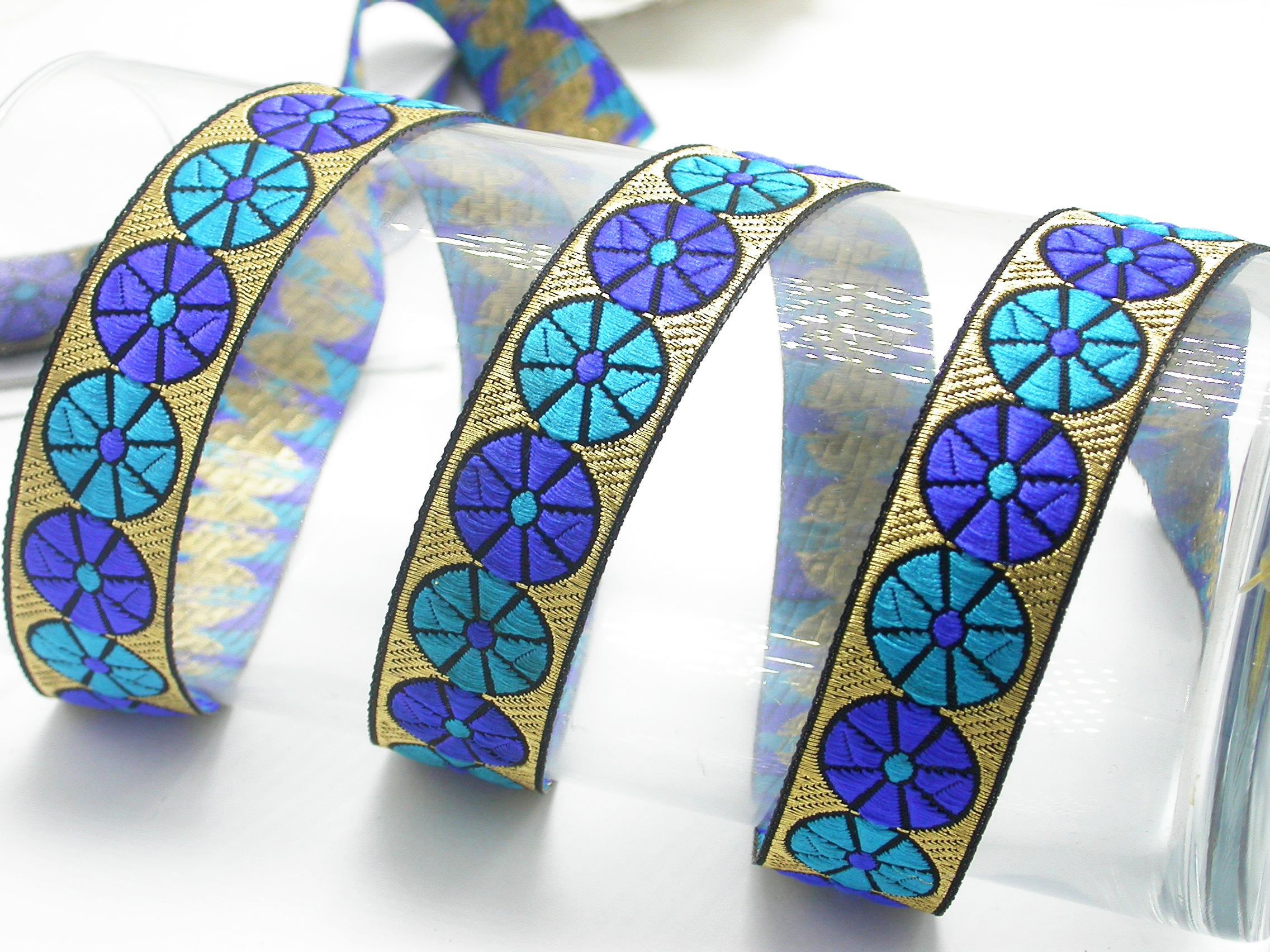 "Jacquard Ribbon 1"" Color Wheels  Priced Per 3 yards & Up"