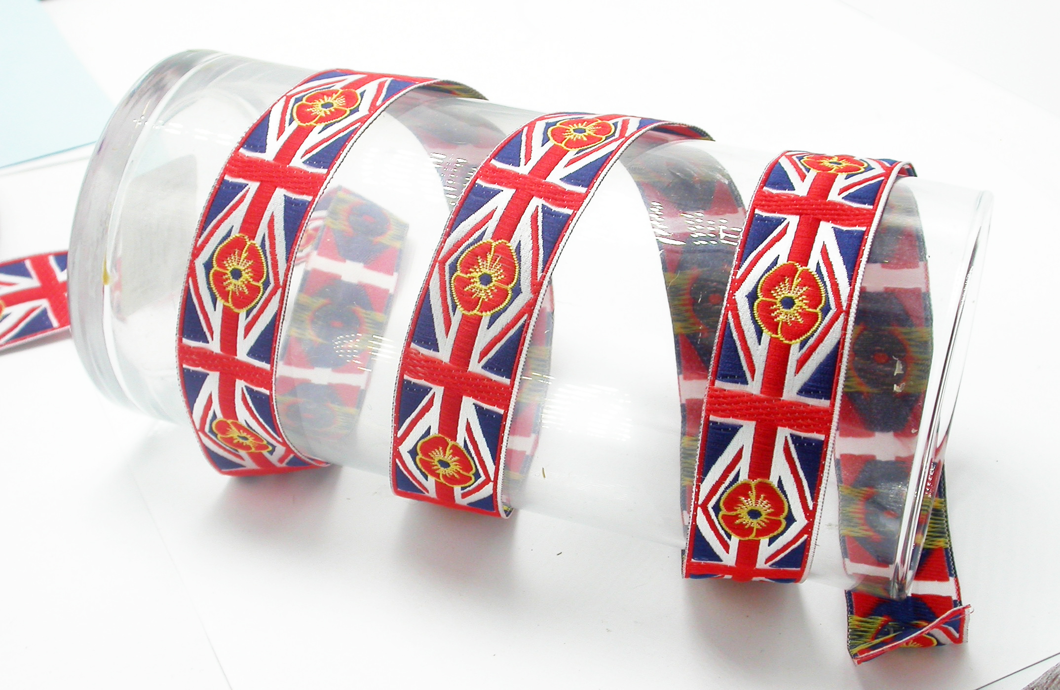 "UK Poppy Jacquard Ribbon 1"" (25mm) Remembrance Priced Per yard"