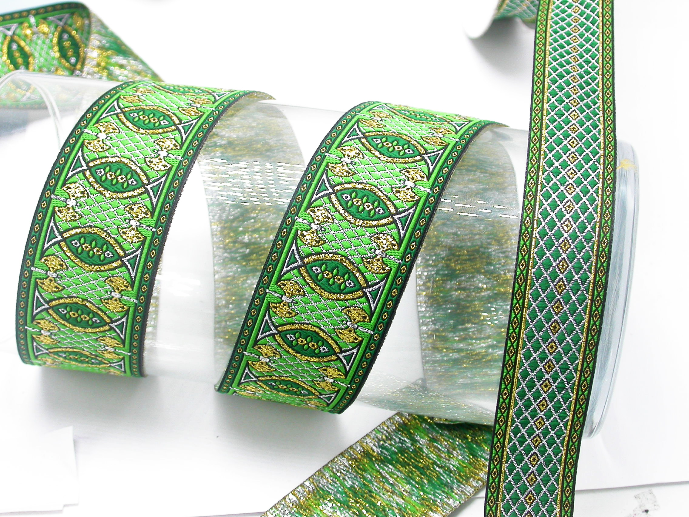 "Jacquard Ribbon 1 1/2"" (38mm) Labrys Priced Per Yard Color Options"