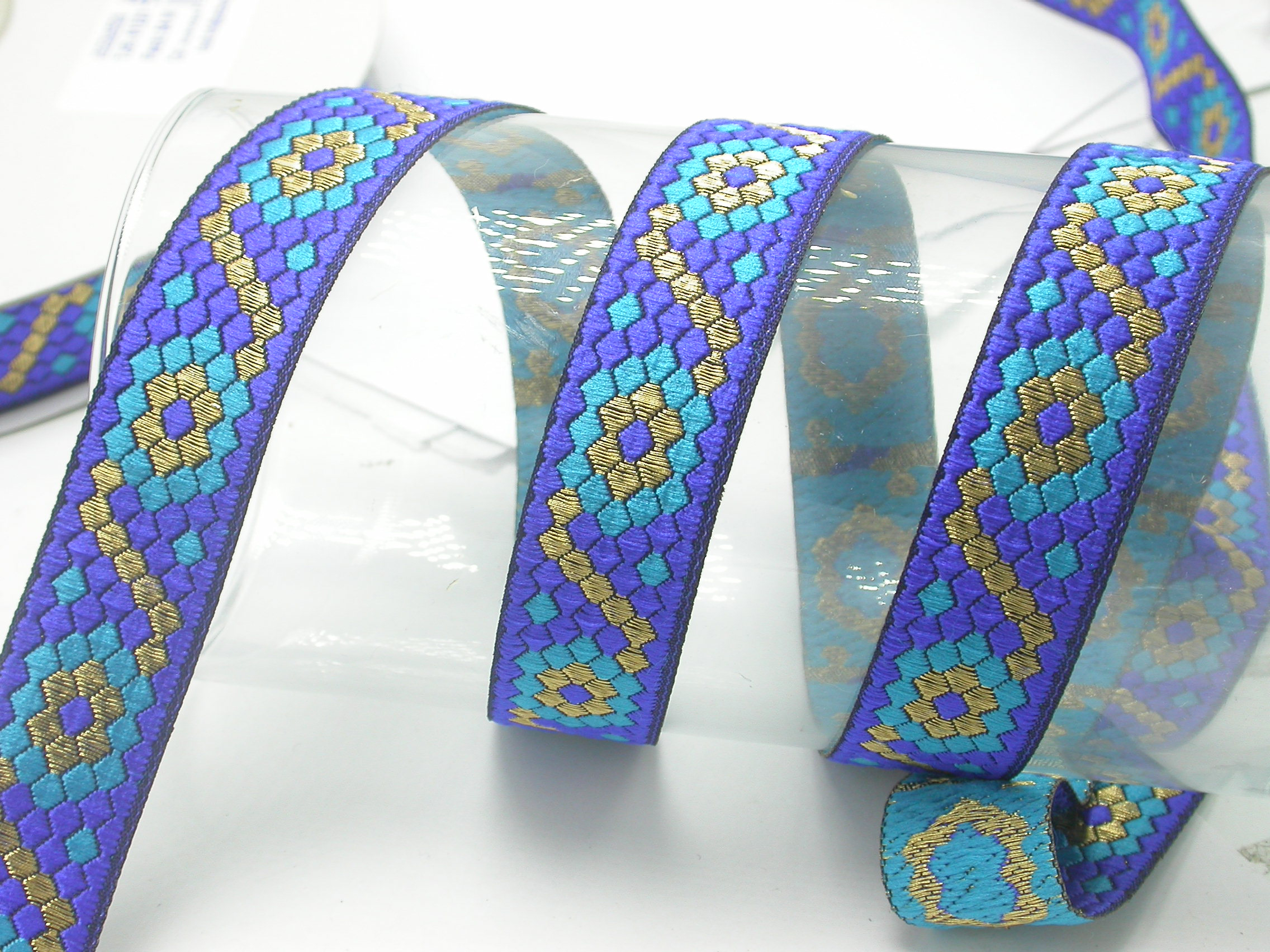 "Jacquard Ribbon 1"" Hexoid  Priced Per 3 yards & Up"