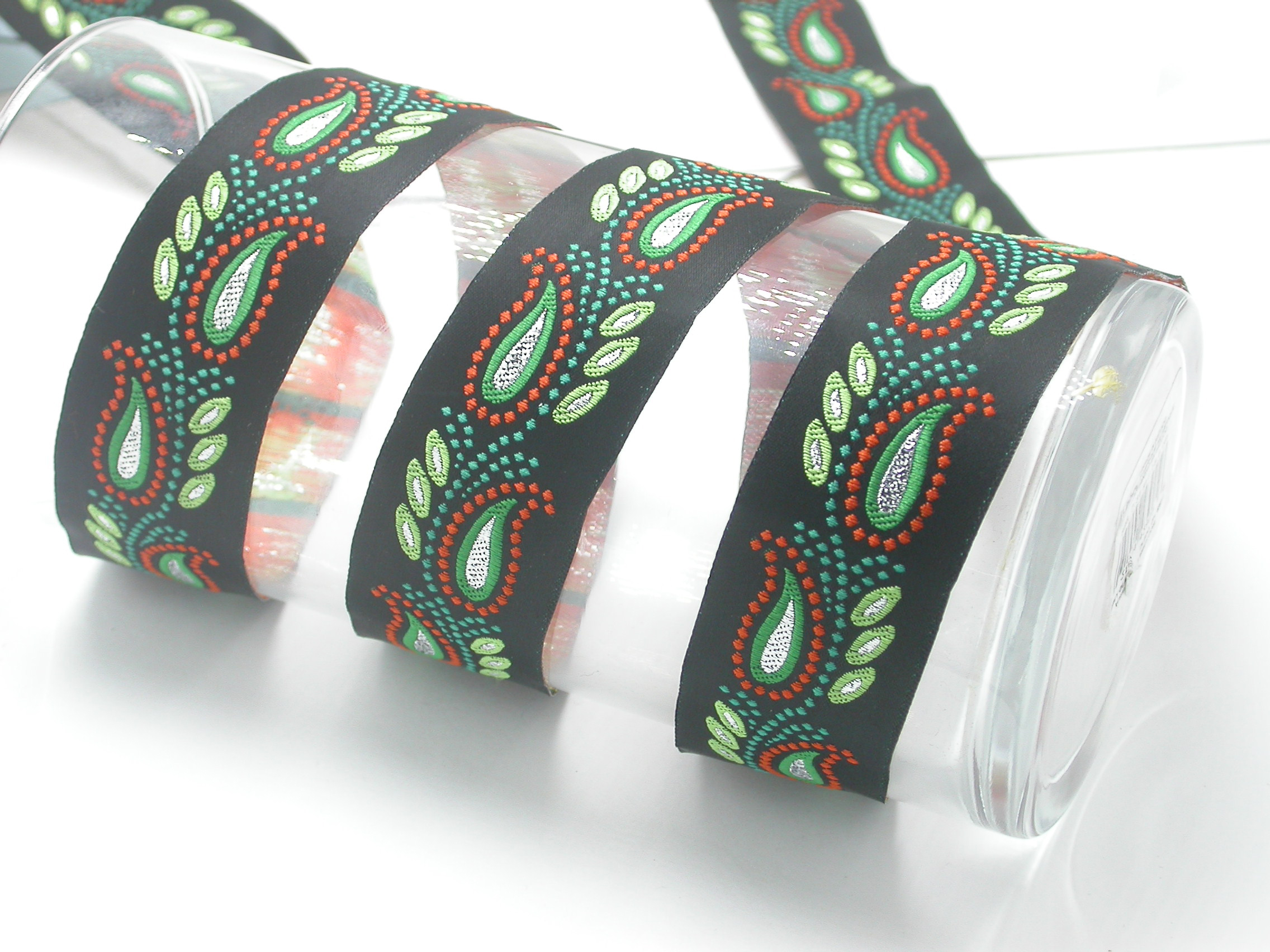 "Metallic Leaves Jacquard Ribbon 1 3/8"" (33mm) Priced Per Yard"