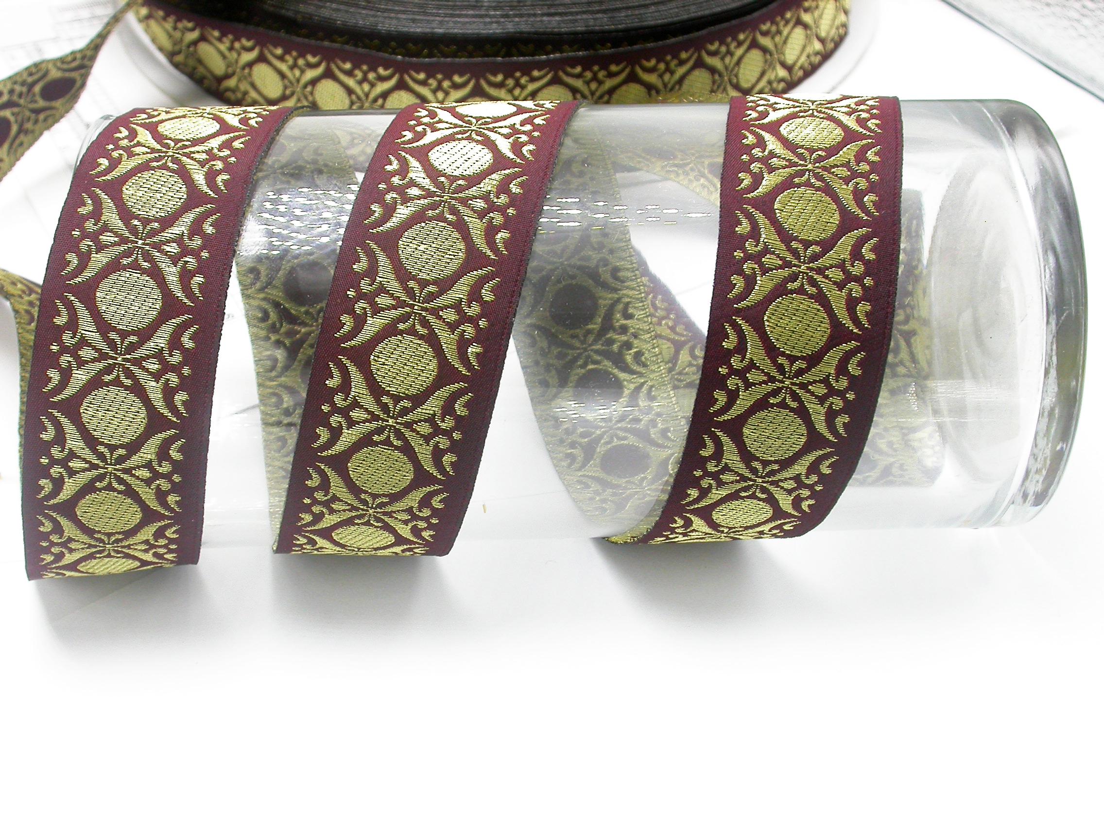 "Jacquard Ribbon Tzia 1 5/16"" (34mm) Metallic Gold Priced Per Yard"