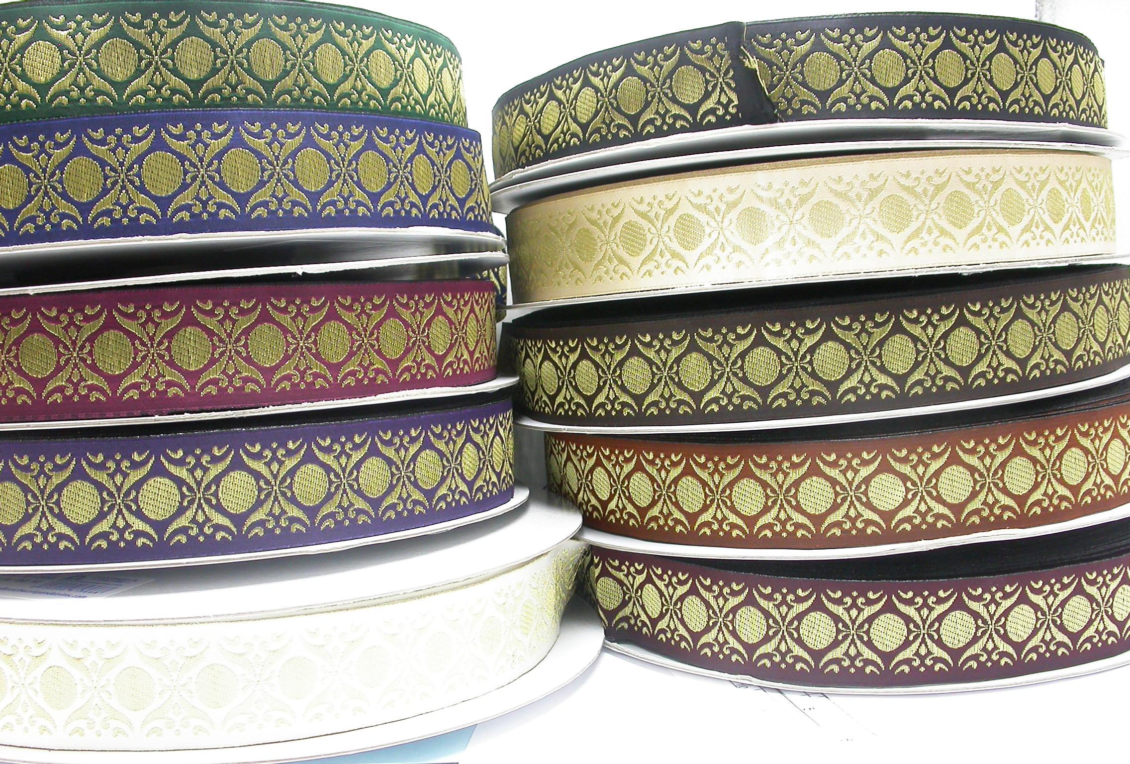 """Jacquard Ribbon Tzia 1 5/16"""" (34mm) Metallic Gold Priced Per Yard  100% Polyester & Metallic    10 Colorways"""