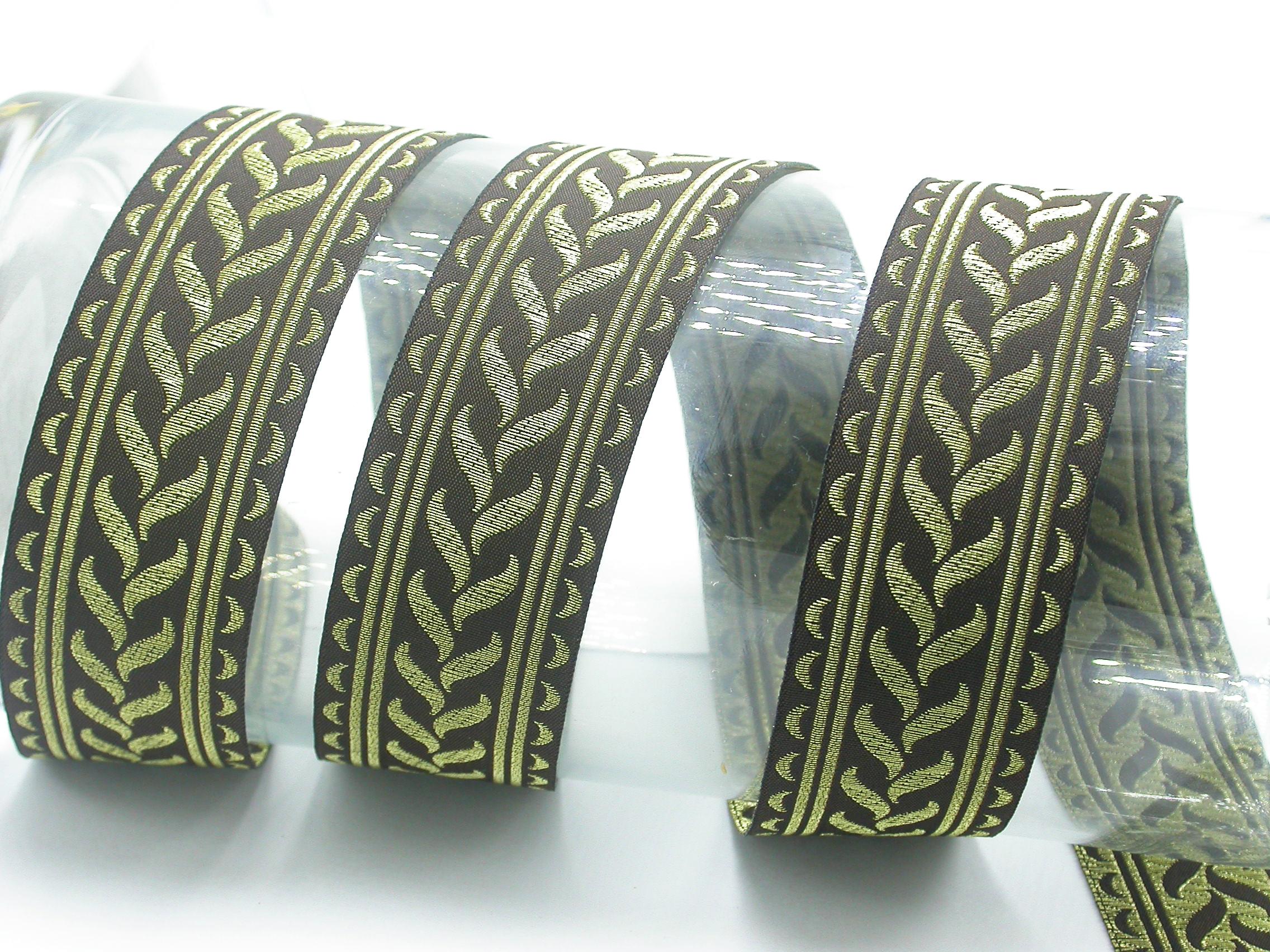 "Jacquard Ribbon French Plait 1 5/16"" (34mm) Metallic Gold Priced Per Yard"