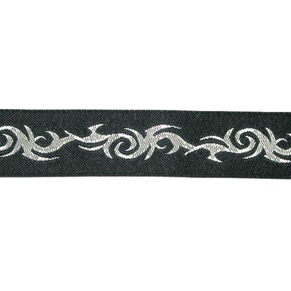 "Jacquard Ribbon - Tribal Black & Poly Silver  3/4"" (20mm) 5 yards"