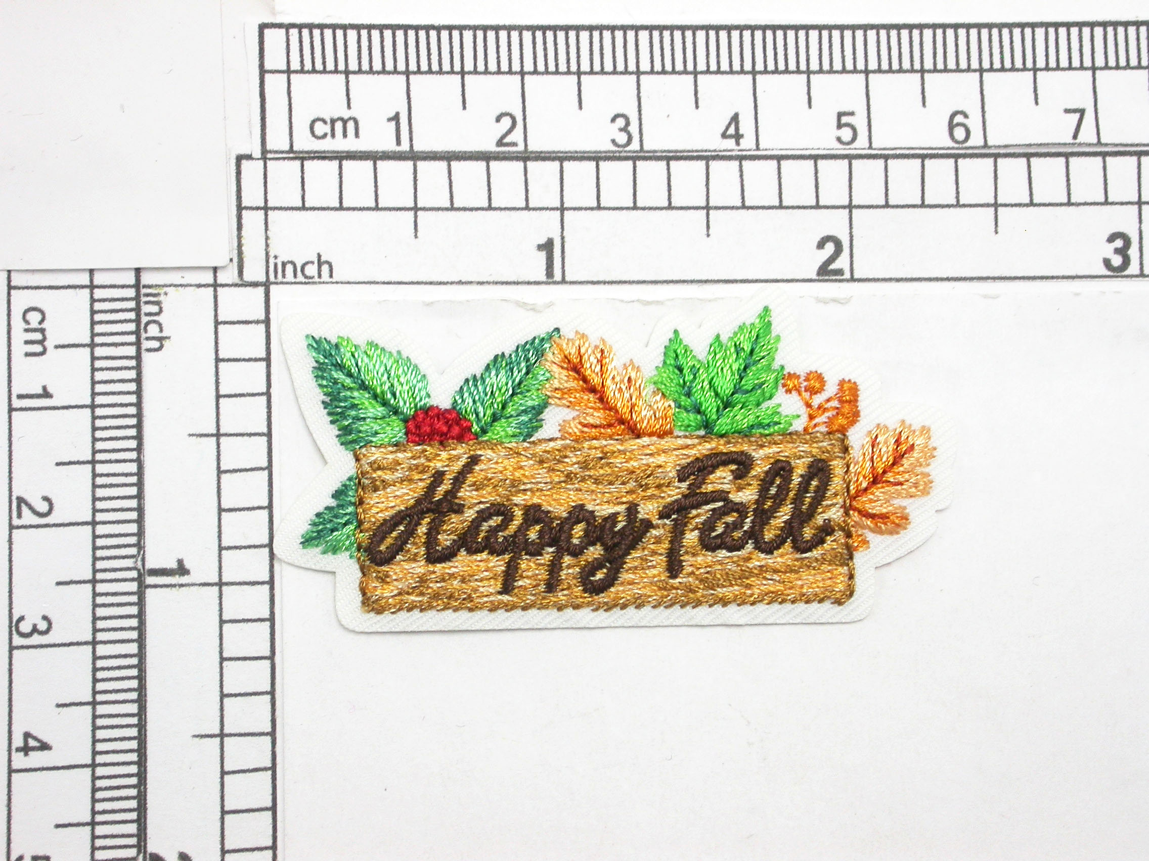 """Happy Fall Sign  Iron On Patch Applique Embroidered     Measures 1 1/8"""" tall x 2 1/4"""" wide"""