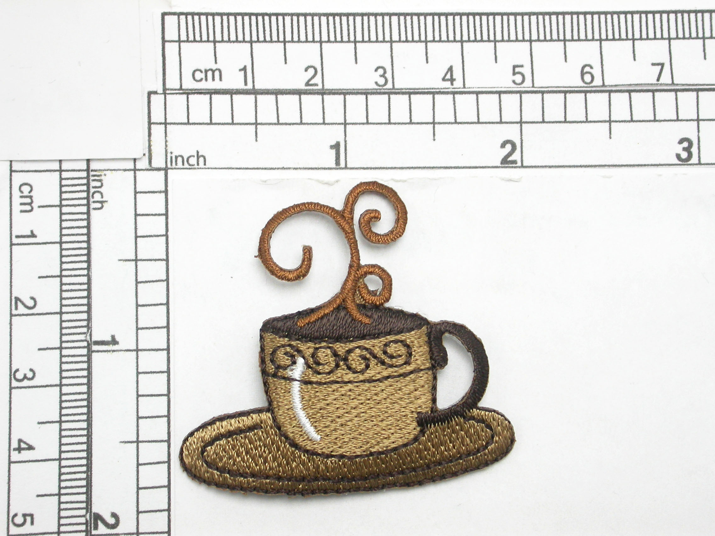"""Coffee Cup Iron On Patch Applique  Embroidered Fully Measures 1 3/4"""" high x 1 7/8"""" wide approximately"""