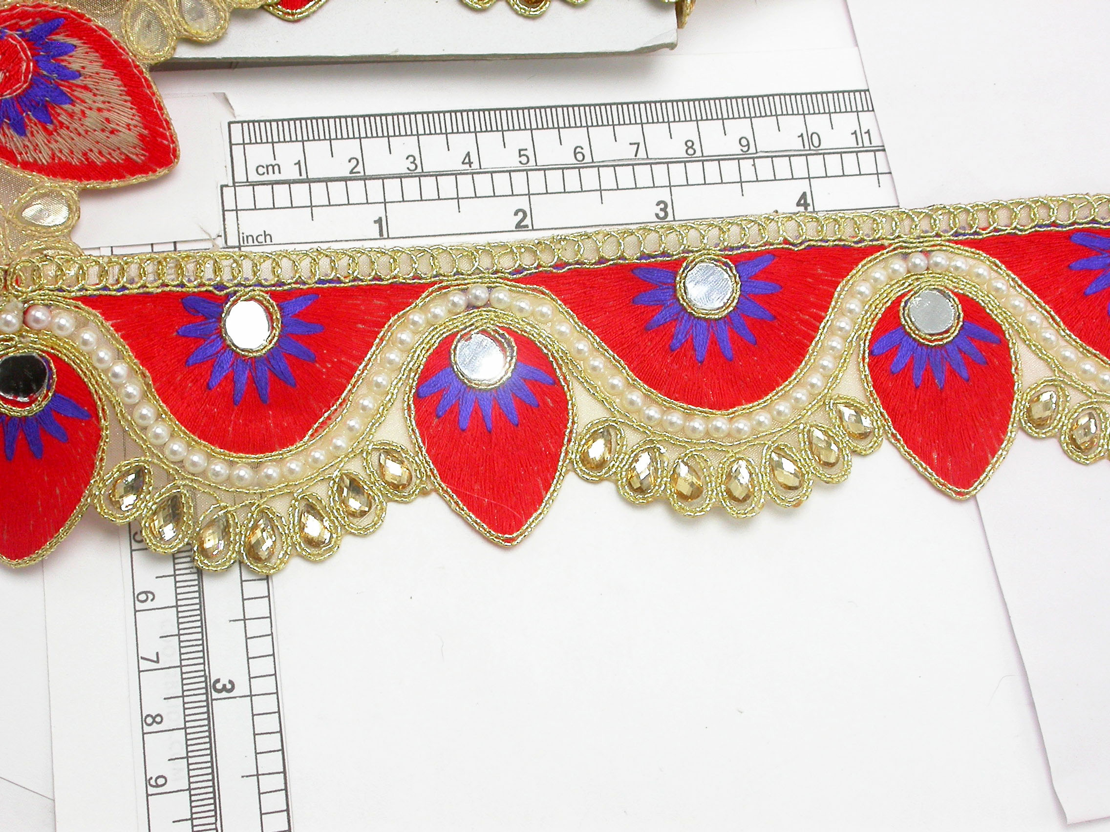 """Beaded Border 2 1/8"""" (54mm) Mirror Bollywood Embroidered"""