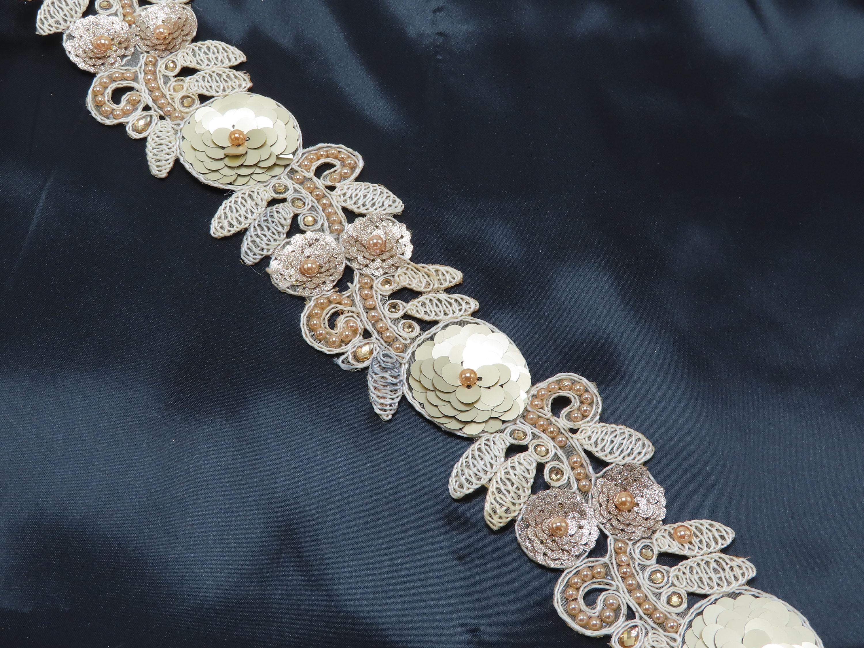 "Beaded Sari Saree Bollywood Border Embroidered  2 3/8"" (60.3mm) Ivory Per Meter"