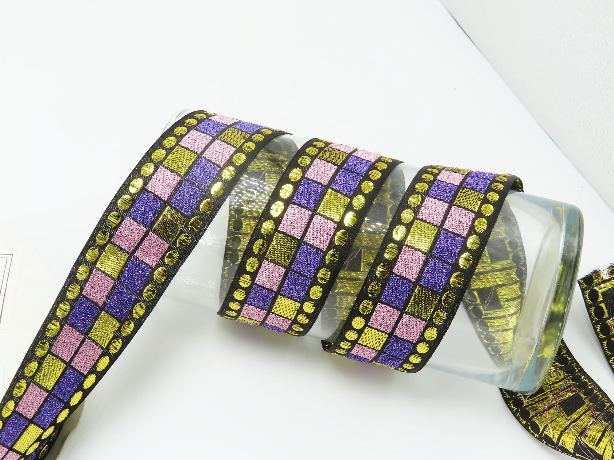 "Jacquard Ribbon 1 1/2"" 38mm Cubique priced Per Yard"