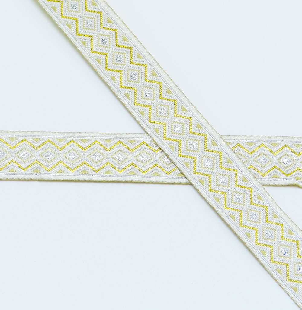 """Jacquard Ribbon 1/2"""" (13mm) Mini Metallic Diamonds Per 9 Meter"""