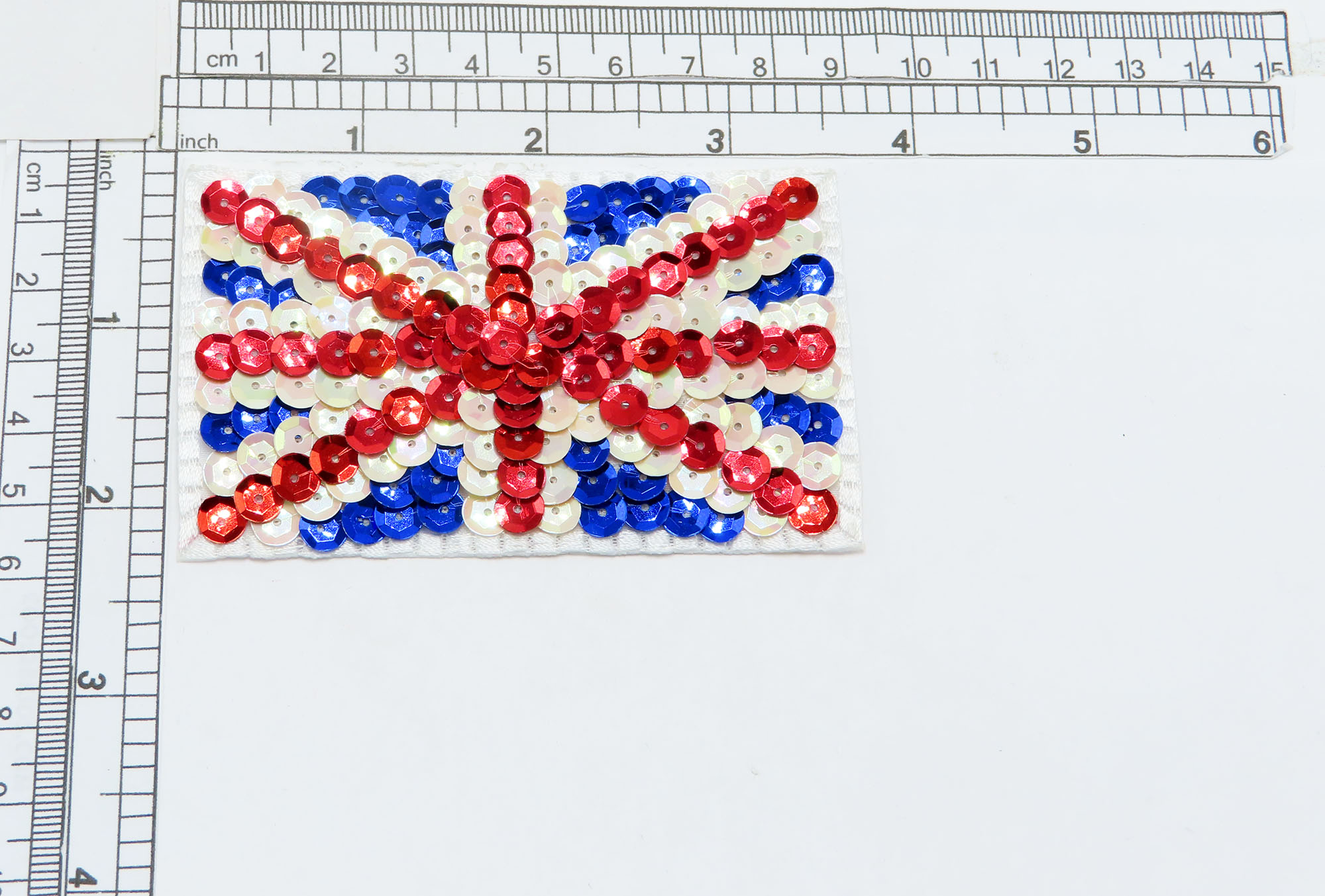 """Sequin Union Jack UK Flag   3 1/2"""" x 2 1/2""""  (89mm x 64mm) approx"""