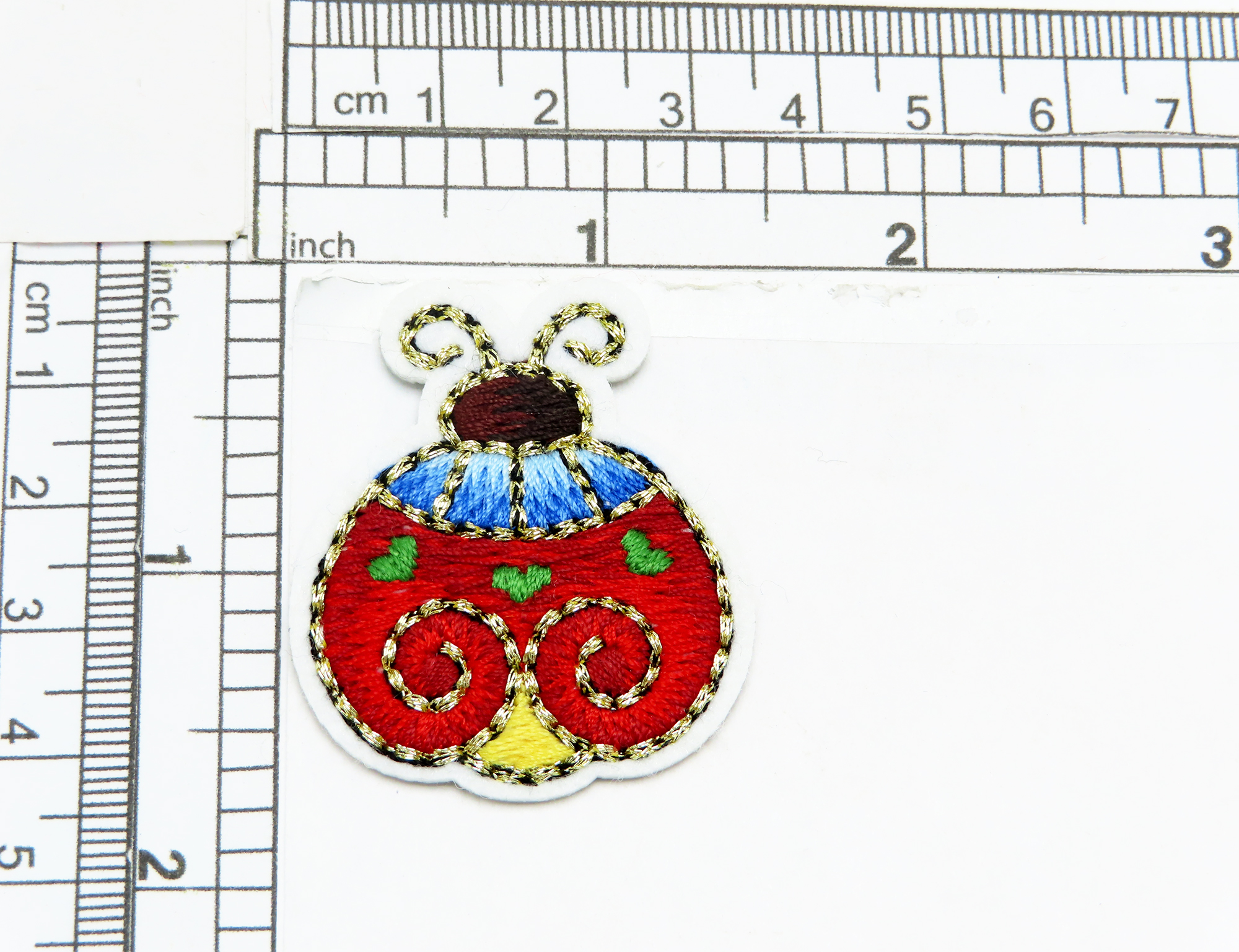 """Ladybug Patch Swirly Embroidered Applique Beautiful graded embroidery  Measures 1 3/4"""" x 1 1/2"""""""