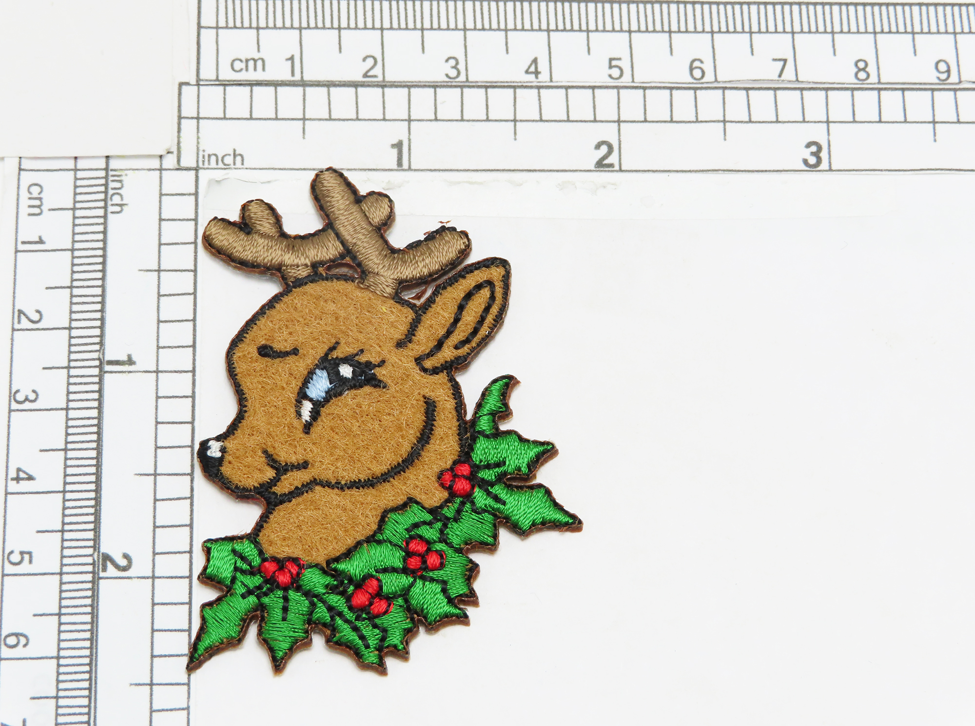 """Deer in Holly Iron On Applique Embroidered on felt  Measures 1 7/8"""" wide x 2 1/2"""" high"""
