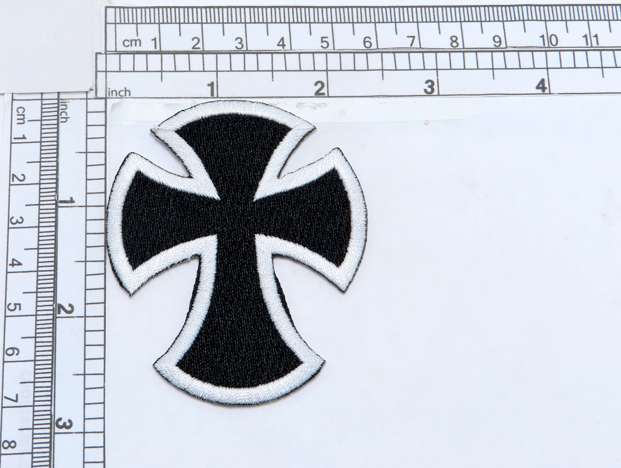"""Biker Cross Black & White Iron On Applique  Fully Embroidered  Measures 2 3/4"""" high x 1 5/16"""""""