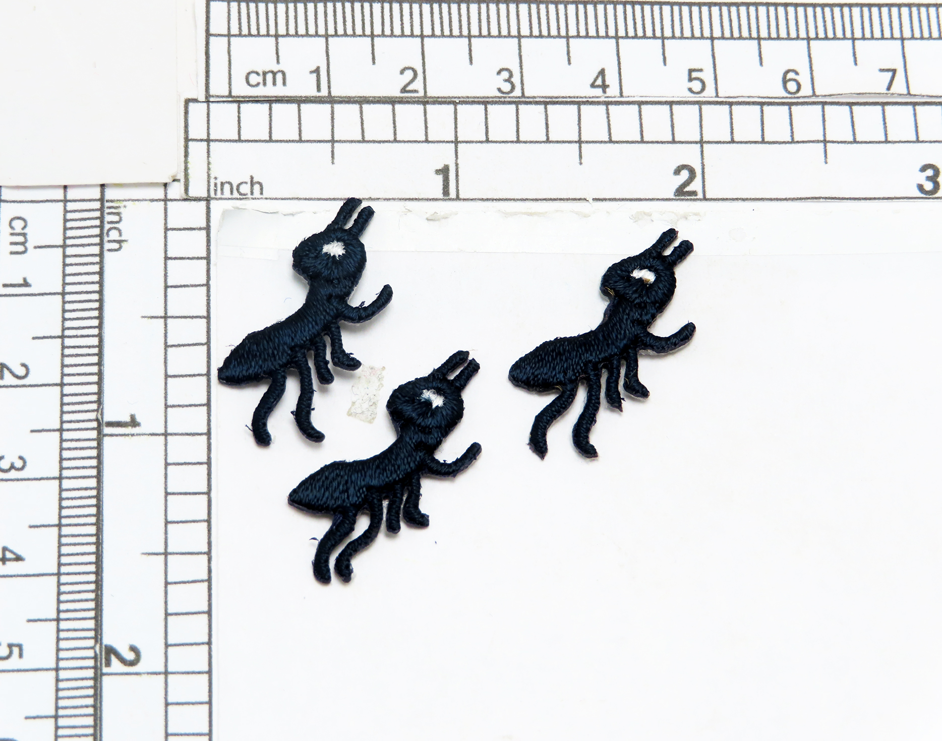 """Ant Iron On Patches x 3  Fully Embroidered in Rayon Threads Measures 3/4"""" across x 1 1/8"""" high"""