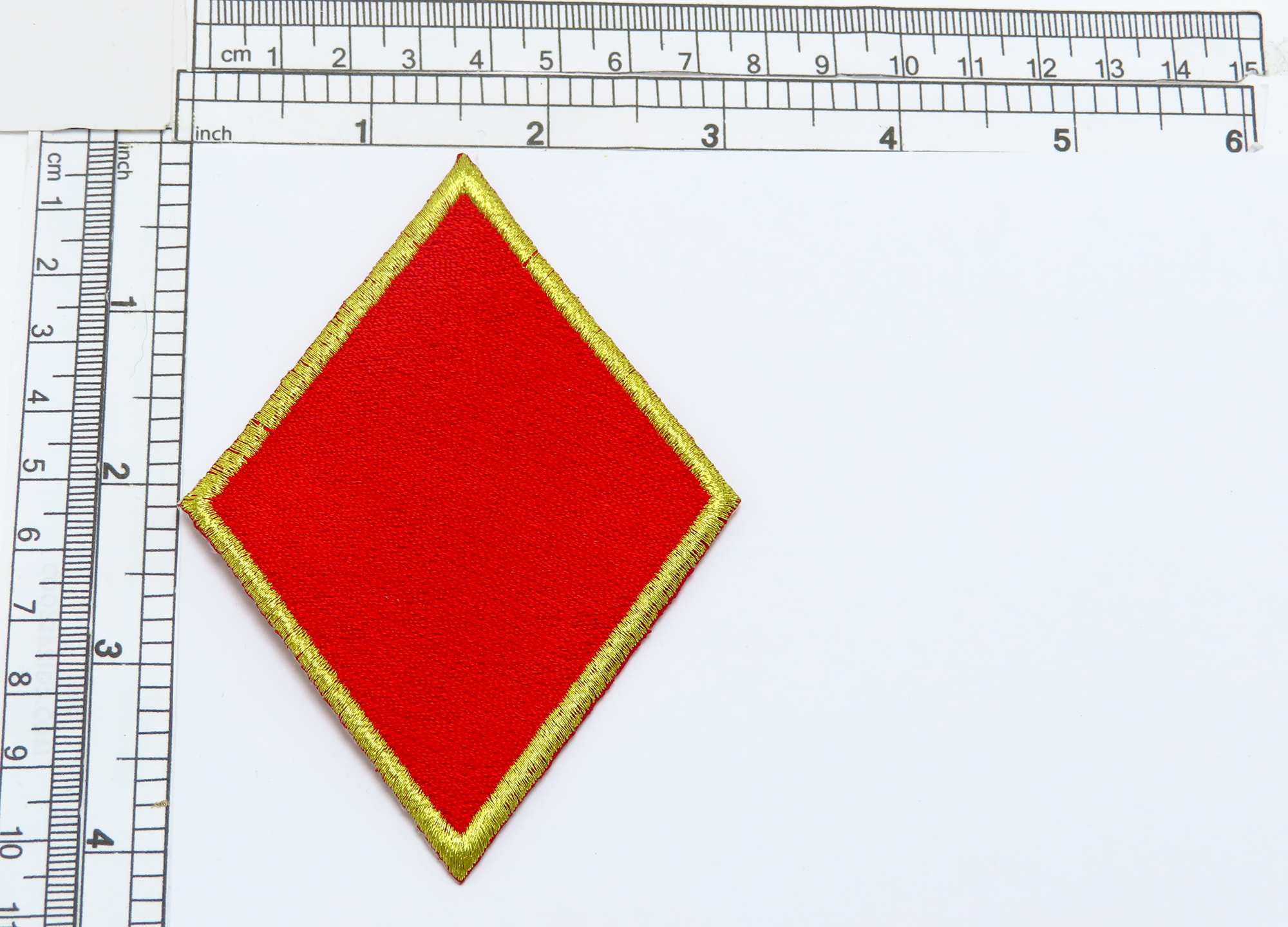 """Red Poker Diamond with Gold Border 4 1/8"""" high (105mm)"""