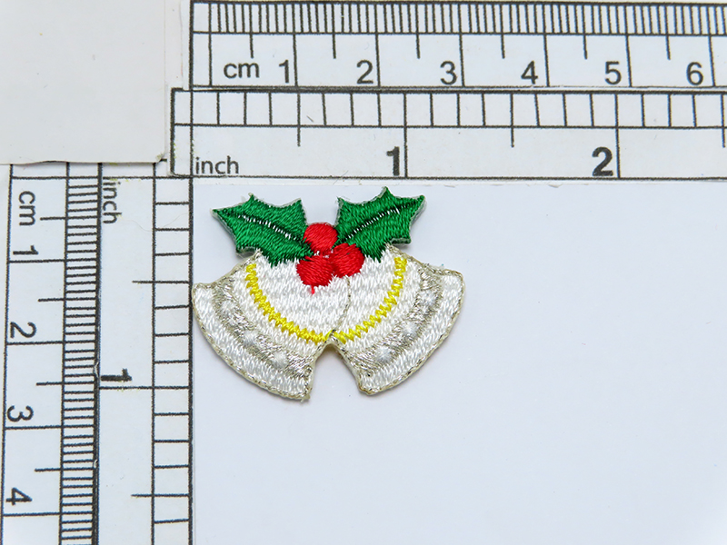 """Christmas Bell Metallic Iron On Applique   Fully Embroidered  Measures 1 5/16"""" x 1"""" high"""
