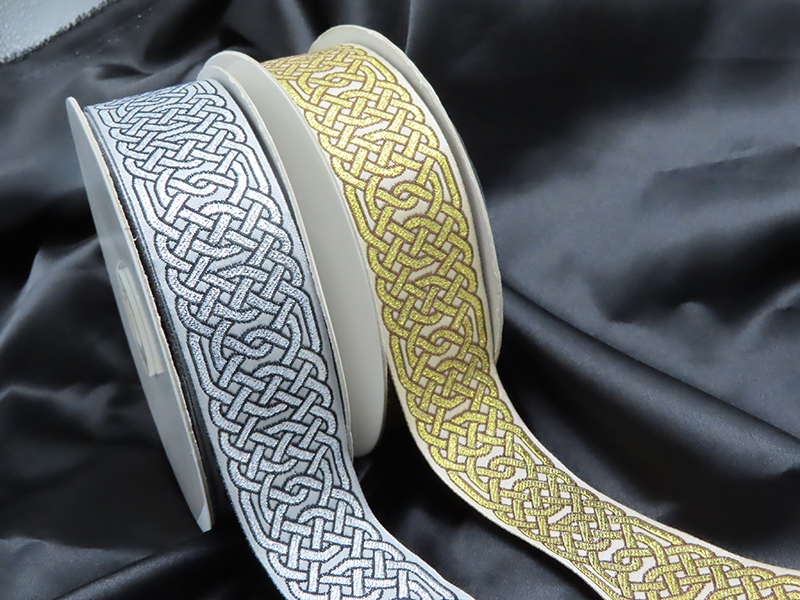 "Jacquard Ribbon 1 1/2"" (38mm) Hexcelsior Celtic Chain Per Yard"