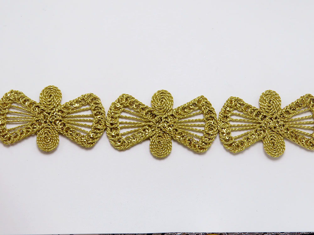 """Braid Border 1 5/8"""" 41mm Magic Metallic Bow with Sequins per Meter  Available in Black Gold Gunmetal & Silver"""