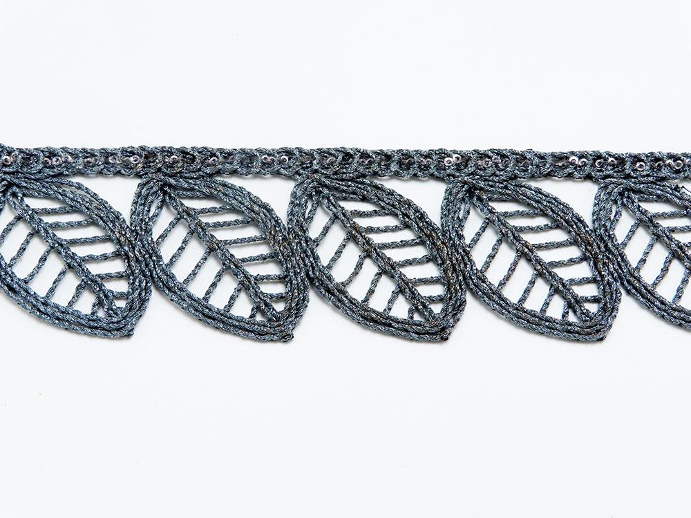 """Braid Border 1 5/8"""" 41mm Magic Metallic Leaf with Sequins per Meter"""