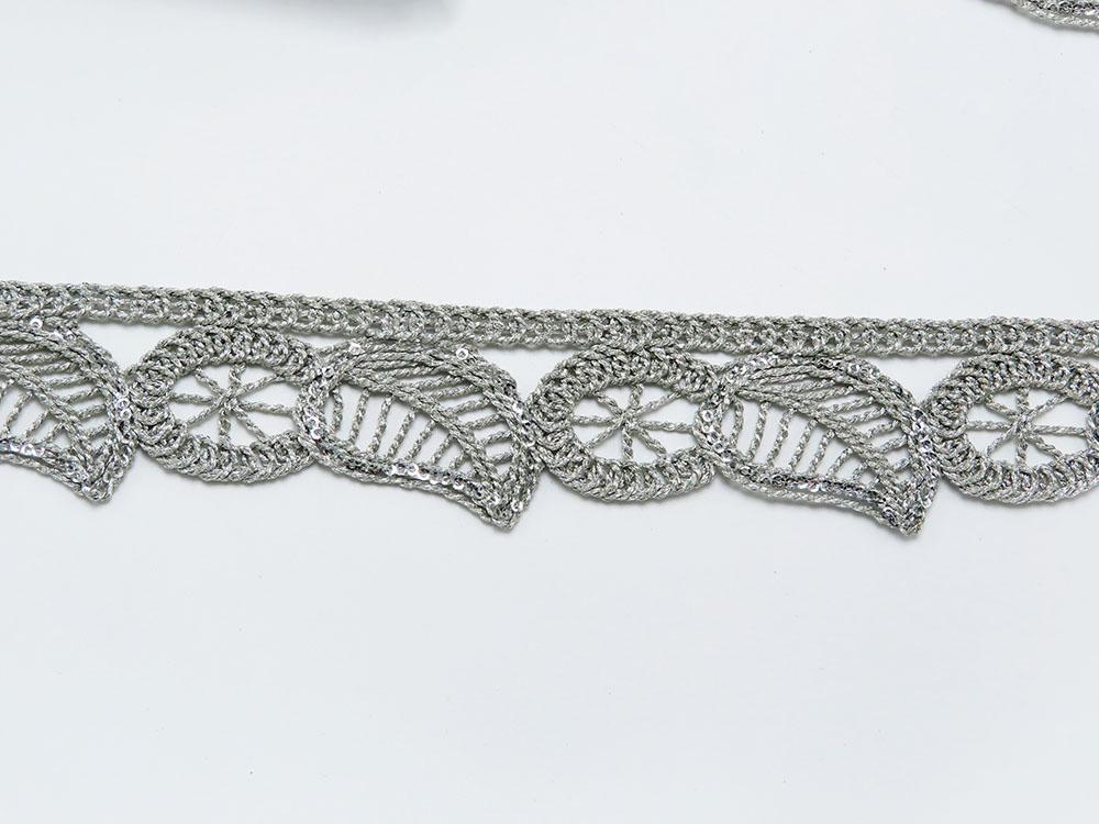 "Braid Border 1 5/8"" 41mm Magic Metallic Leaf Ring with Sequins per Meter"