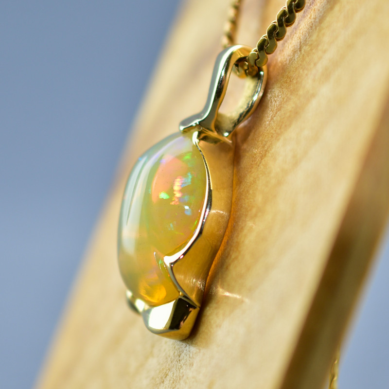 14k Yellow Gold Free-form Pendant with Large Custom Cut Ethiopian Opal  -SOLD-