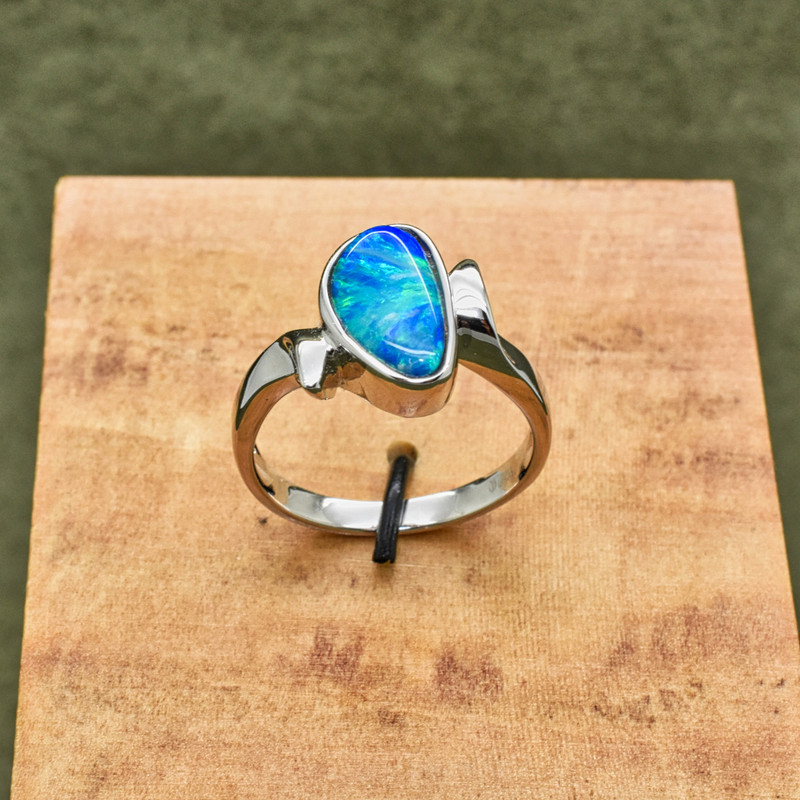 Sterling Silver Ladies Bypass ring with Natural Opal Doublet
